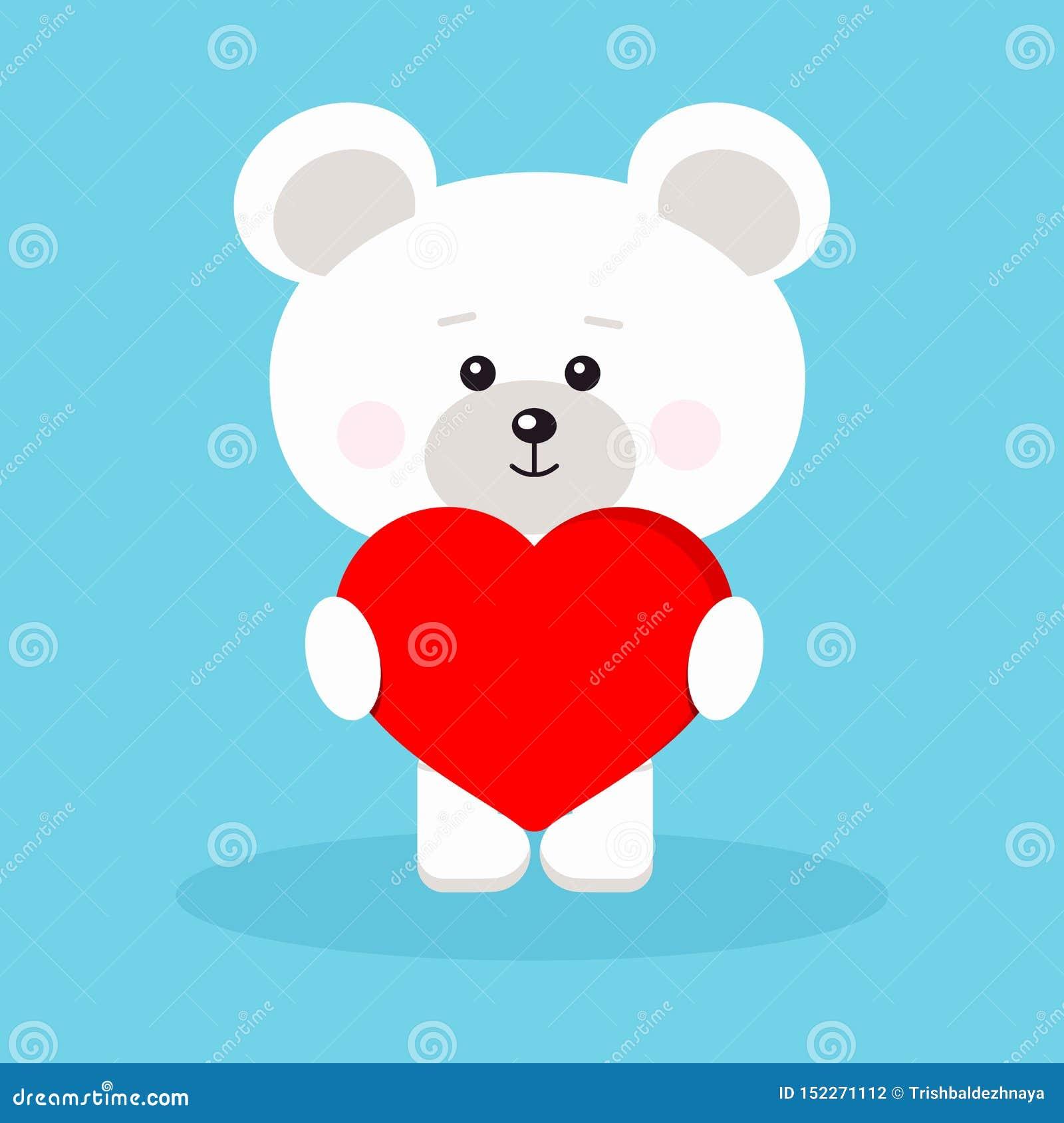 Urso polar romântico isolado do bebê bonito e doce com coração vermelho