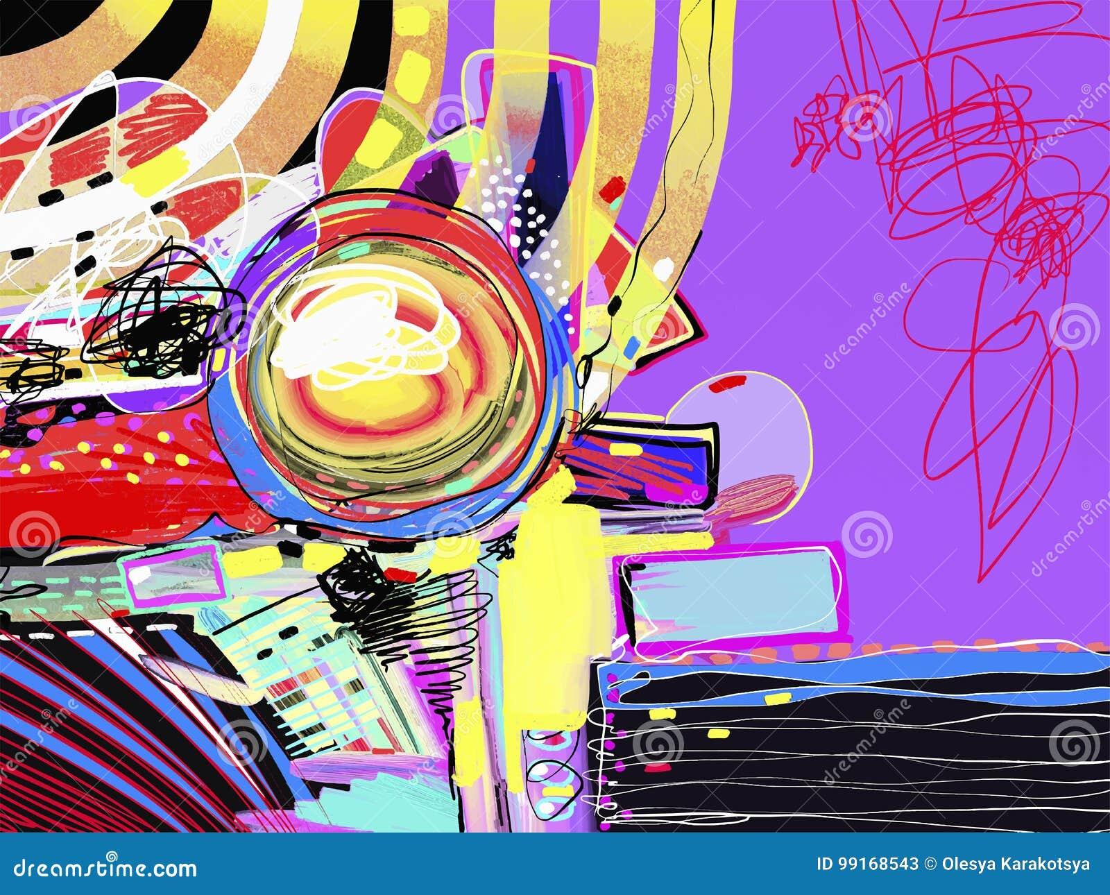 Ursprüngliche Digitale Abstrakte Malerei, Zeitgenössische ...