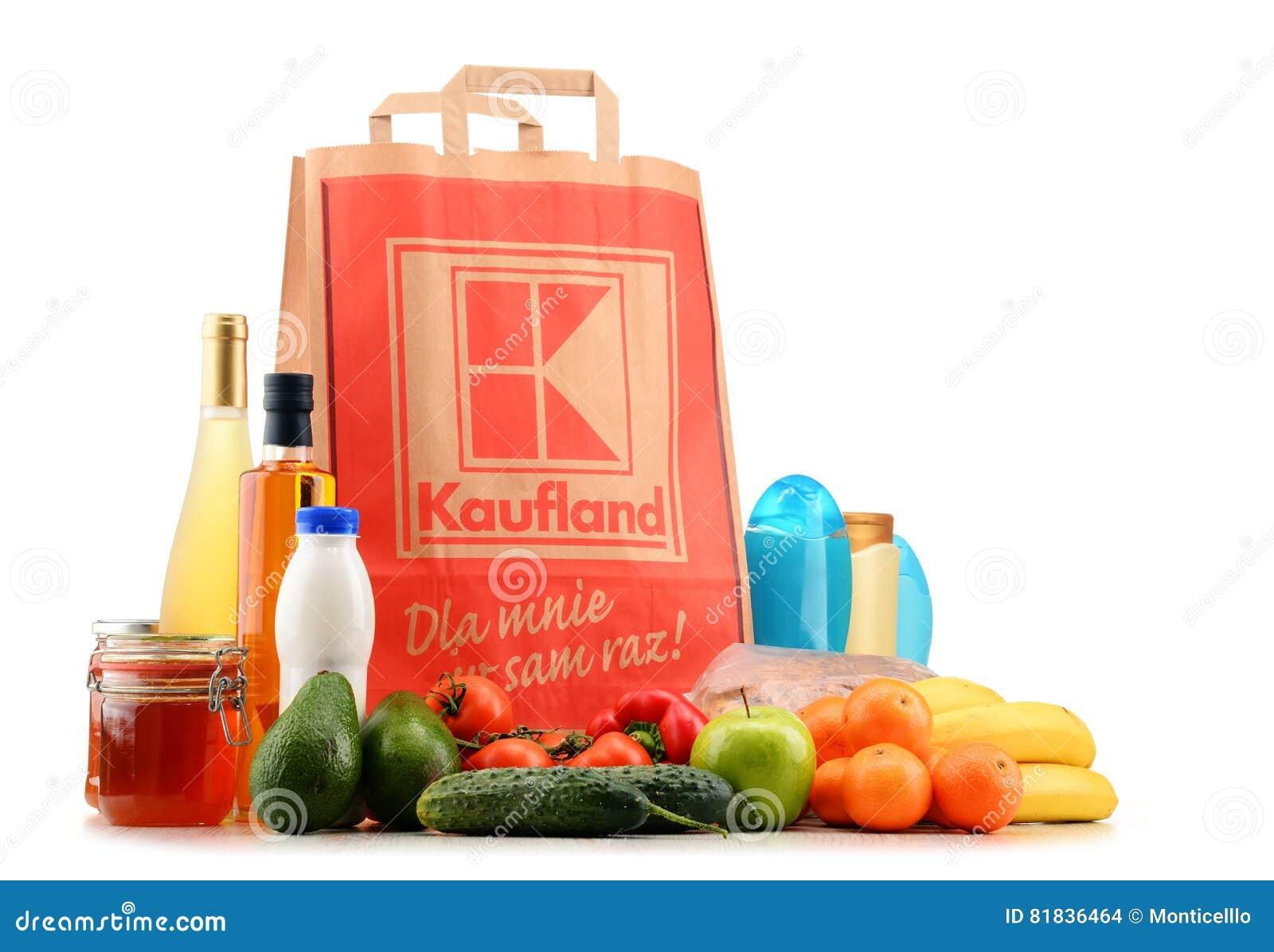 Ursprüngliche Kaufland-Papiereinkaufstasche Und -produkte ...