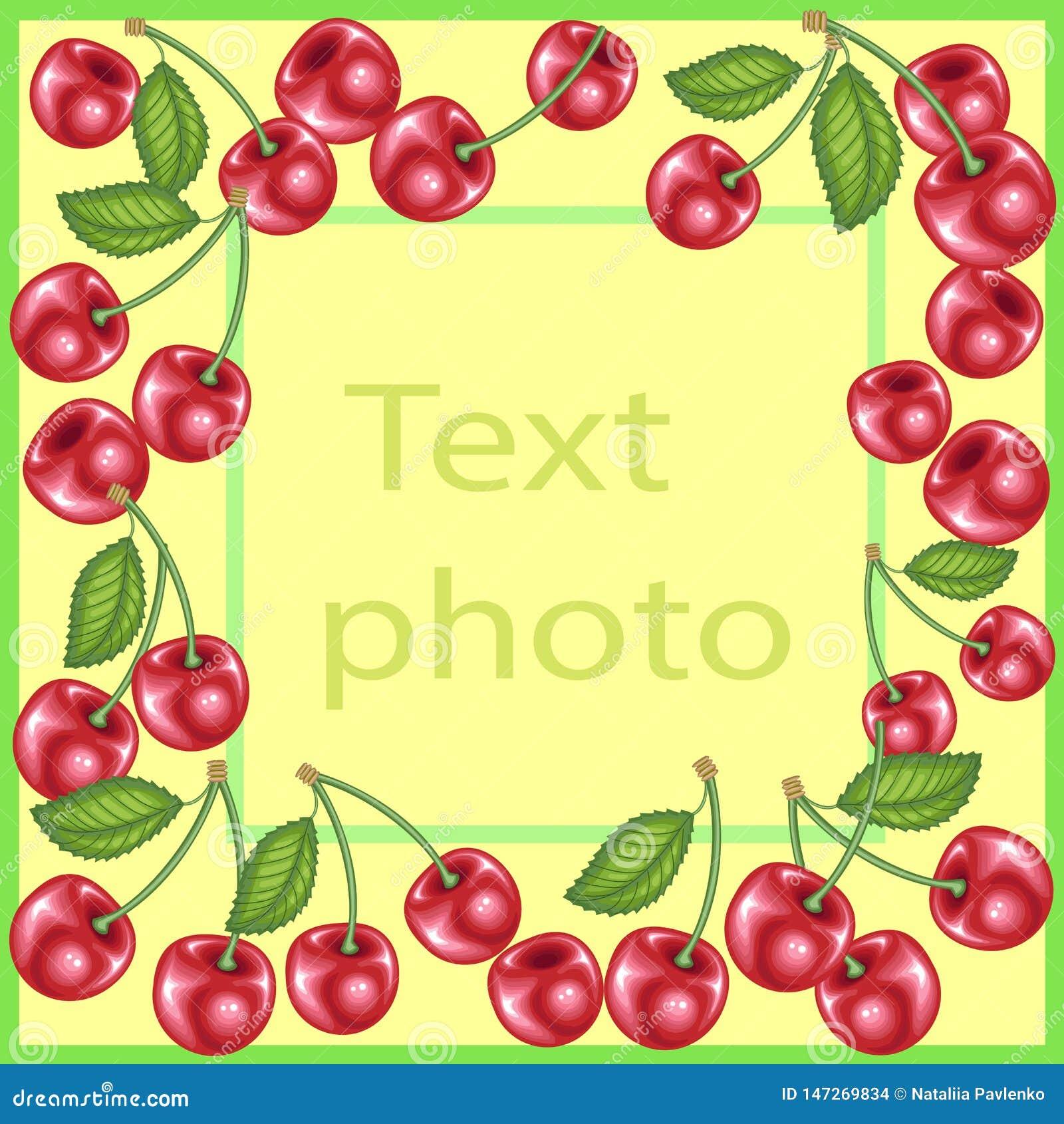Urspr?nglicher Rahmen f?r Fotos und Text Süße saftige Kirschbeeren schaffen eine festliche Stimmung Ein perfektes Geschenk für Ki