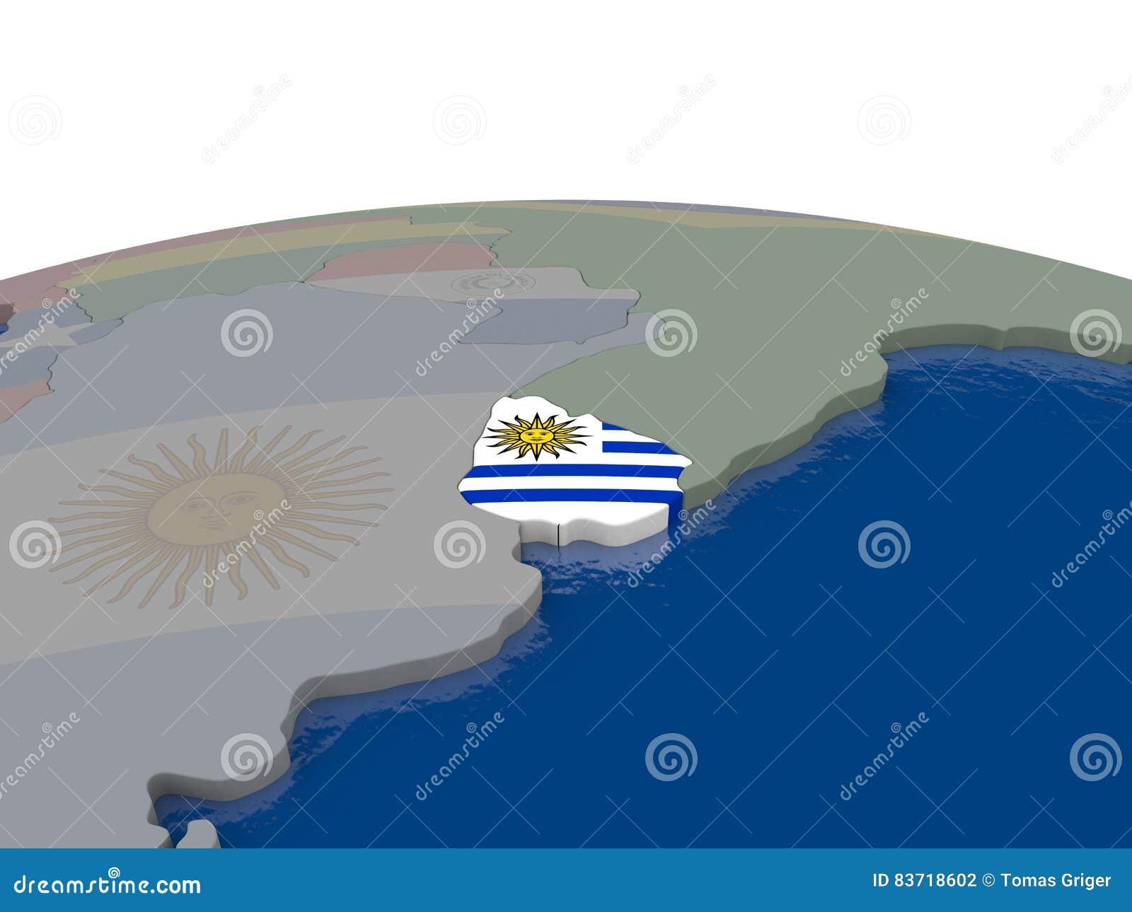 Uruguay With Flag Stock Illustration