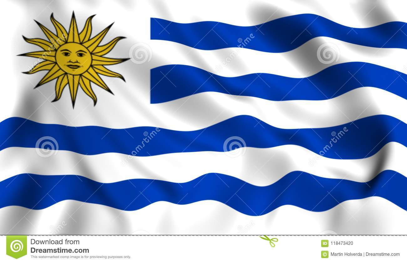 Uruguay Flag Waving In The Wind Symbol Of Uruguay Country Stock