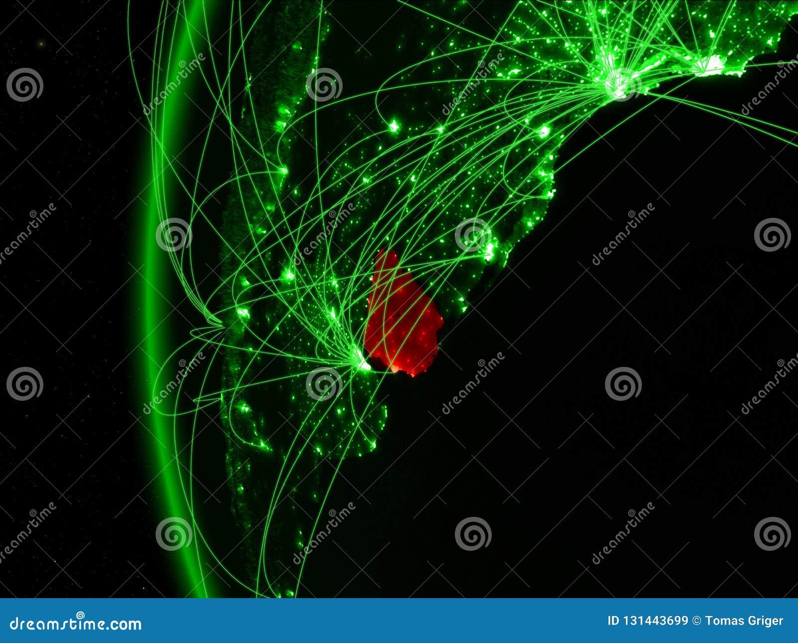 Uruguay van ruimte op groen model van Aarde met internationale netwerken Concept groene mededeling of reis 3D Illustratie