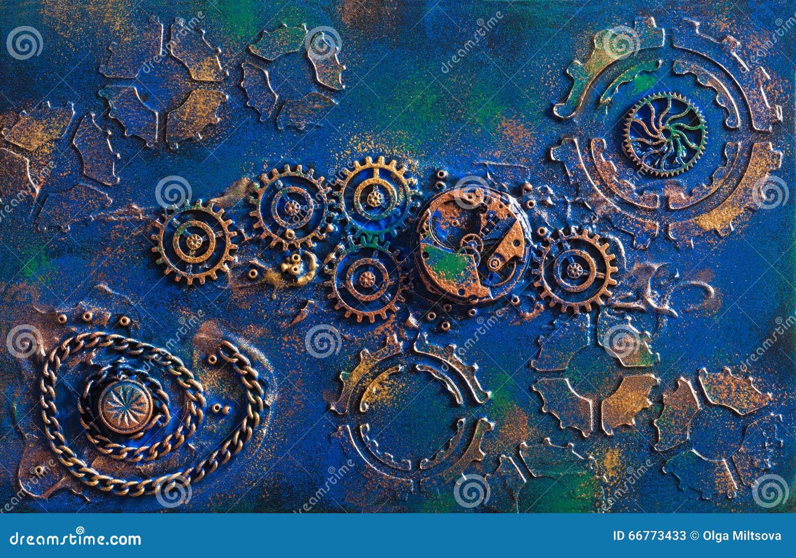 Urverk för hjul för kuggar för handgjord steampunkbakgrund mekaniskt
