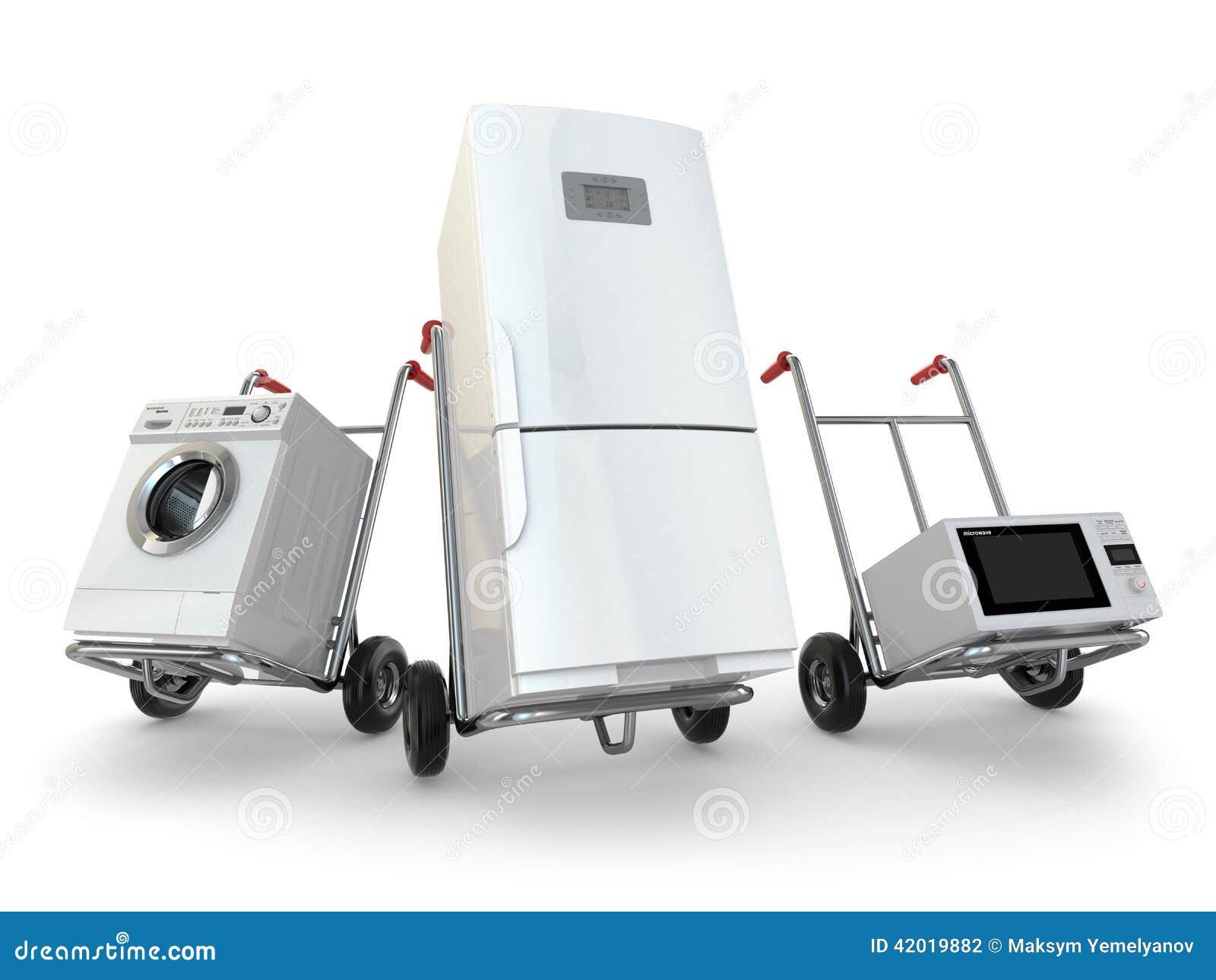Urządzenie dostawa Ręki ciężarówka, fridge, pralka i micr,