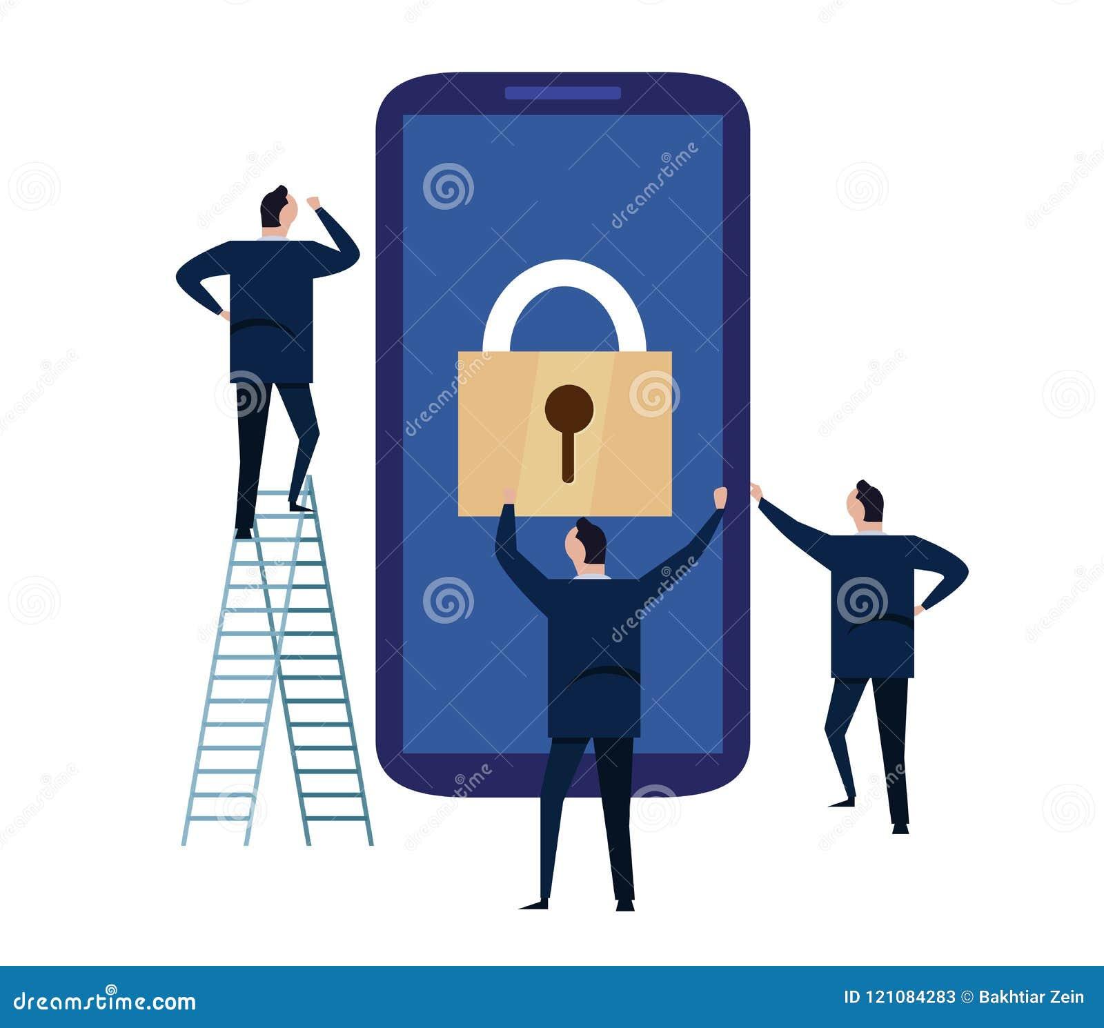 Urządzenie przenośne ochrona Cyber ochrony pojęcie chronienie dane z smartphone i informacja osobista ilustracja