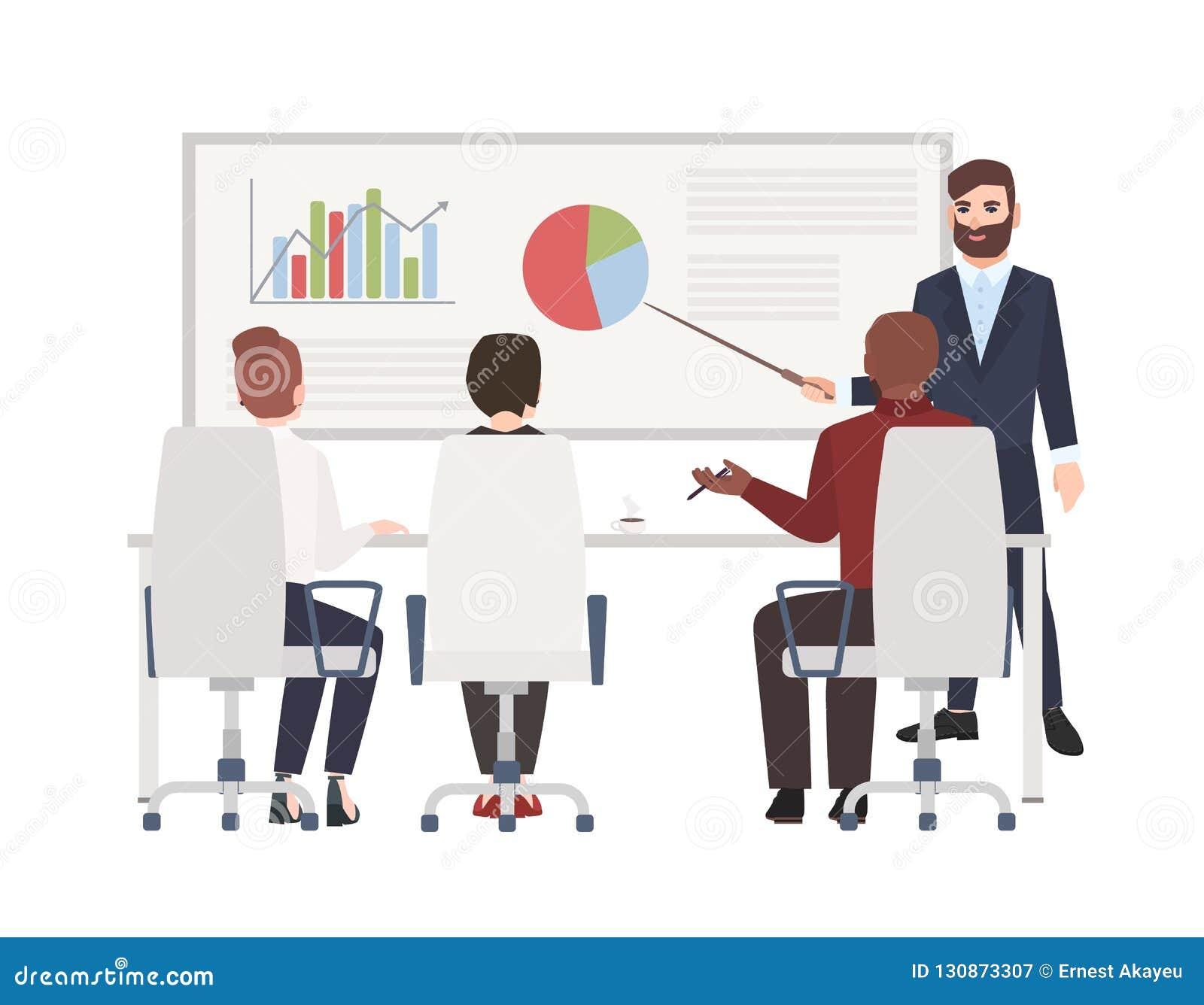 Urzędnicy przy whiteboard spotkaniem Brodaty mężczyzna robi prezentacji przed widownią Śliczni postać z kreskówki