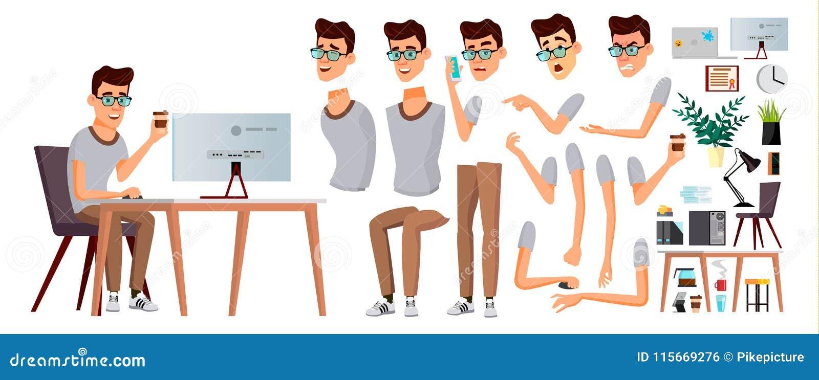 Urzędnika wektor Emocje, gesty Animaci tworzenia set biznes biznesmena szczęście osoby portret kariera Nowożytny pracownik, roboc