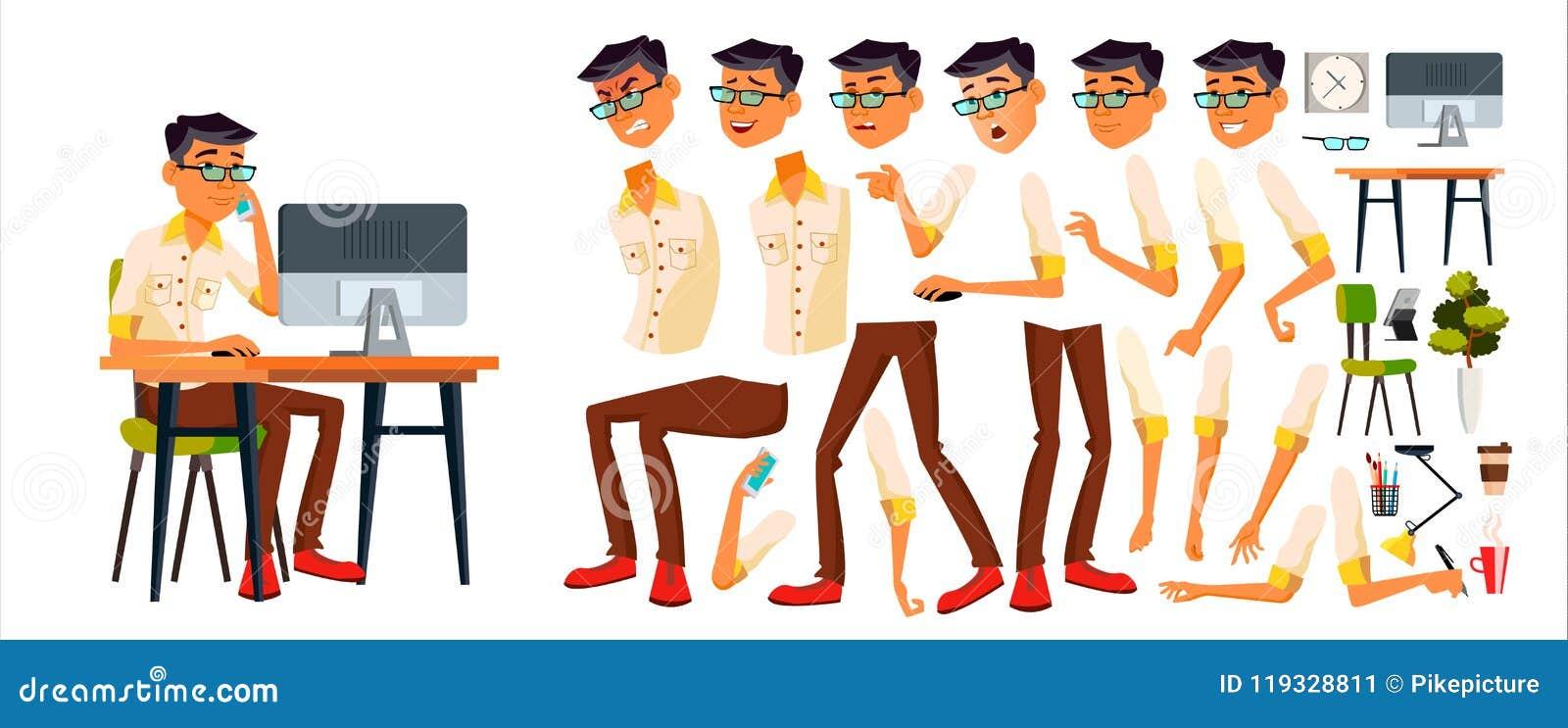 Urzędnika wektor Koreańczyk, Tajlandzki, wietnamczyk Animaci tworzenia set Twarzy emocje, Różnorodni gesty officemates
