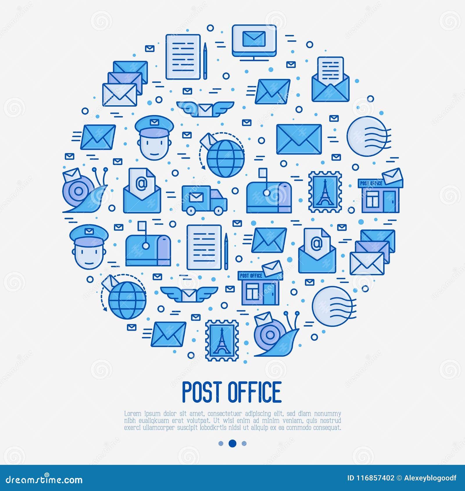 Urzędu pocztowego pojęcie w okręgu z cienkimi kreskowymi ikonami