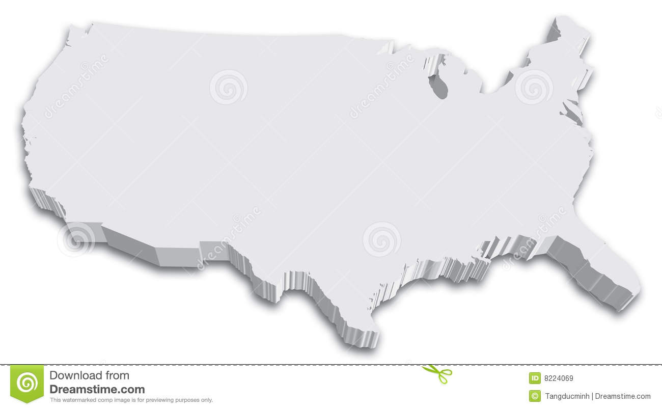 US D State Map Stock Vector Image Of America Indiana - Us map 3d