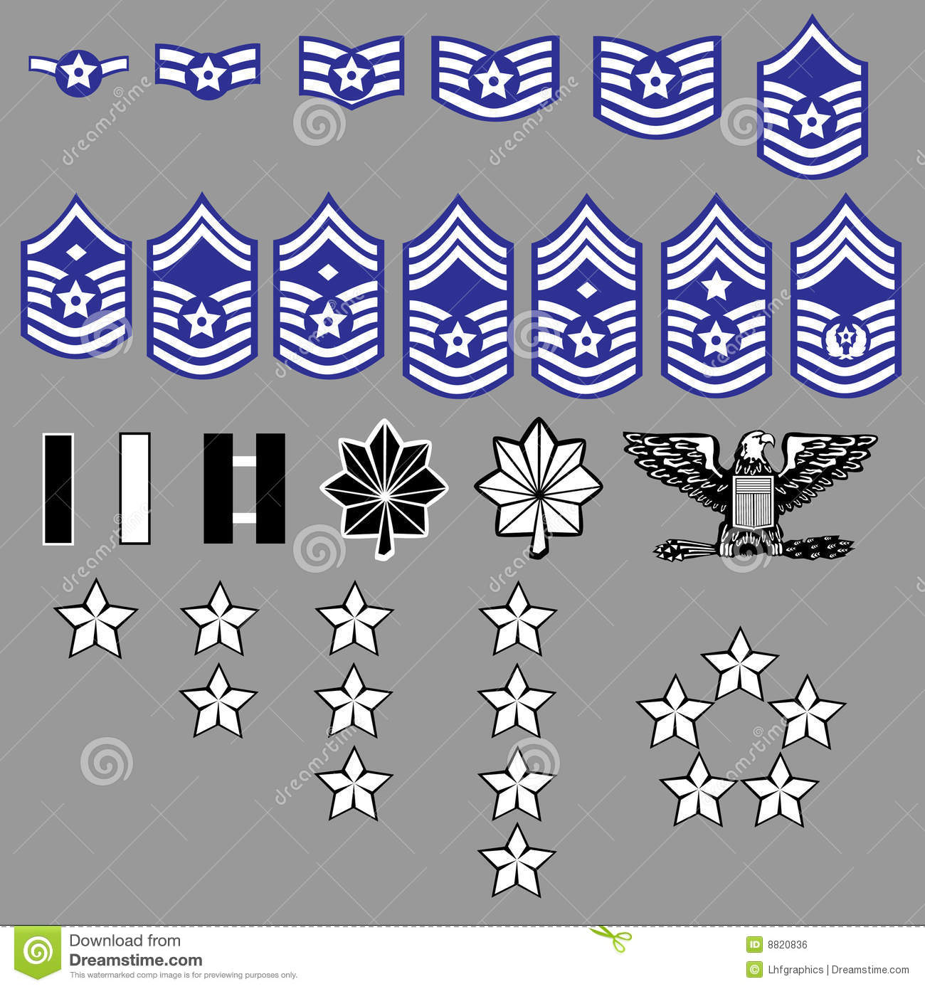 complete set of US Air Force rank insignia including officers and ...
