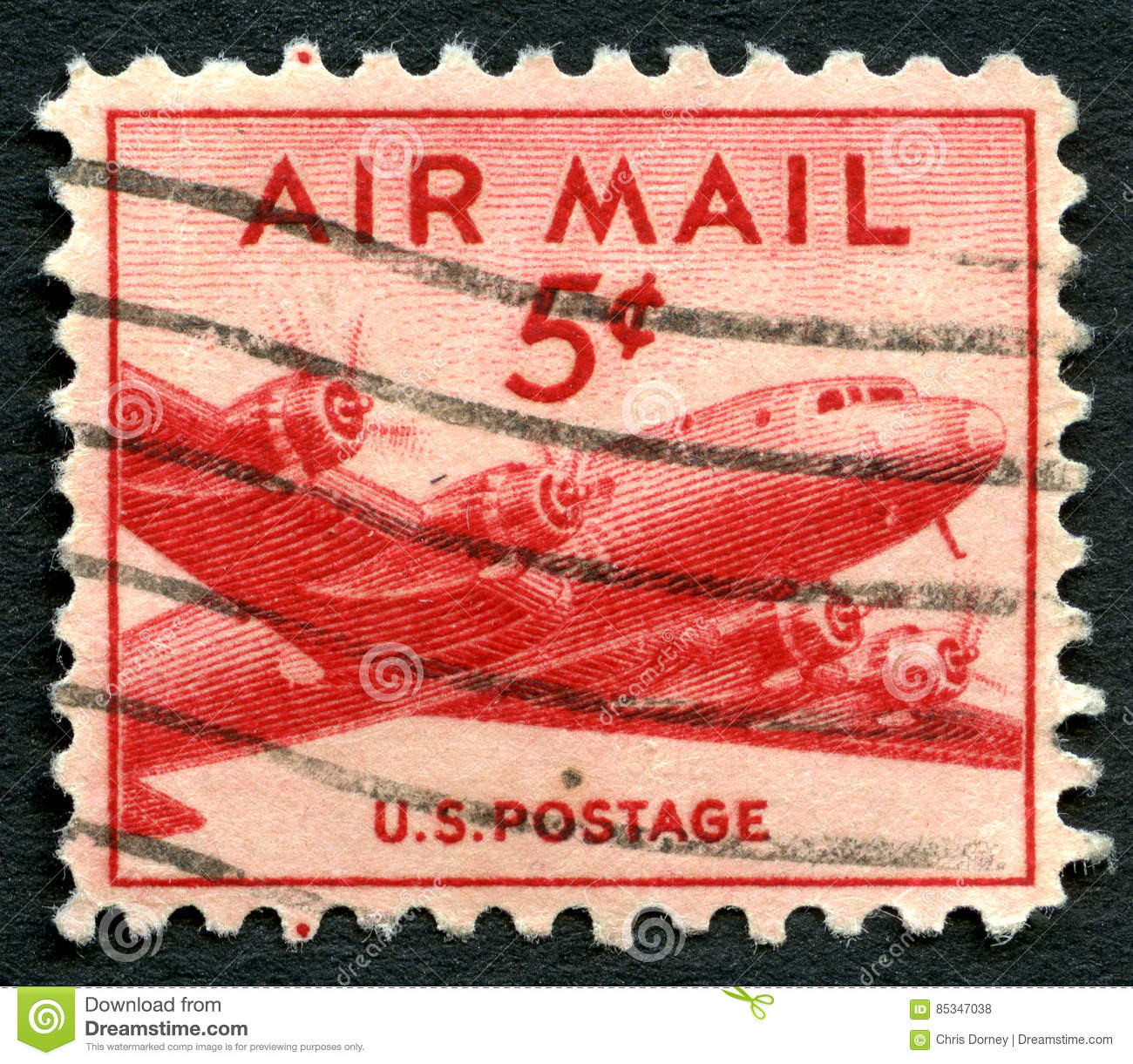 Old U.S. Air Mail Postage Stamps Royalty-Free Stock Photo