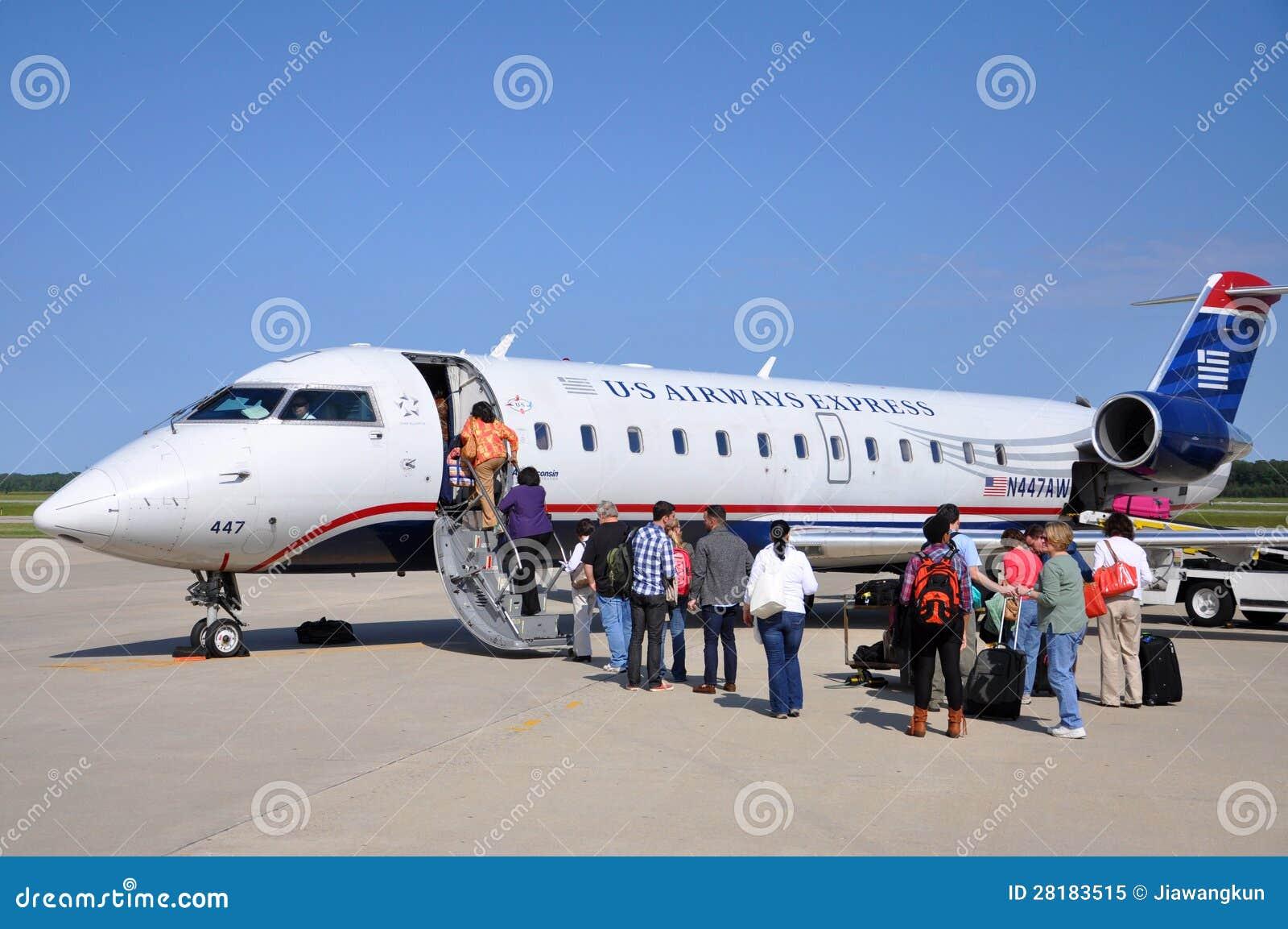 Us Airways Crj 200 At Newport News Airport Editorial Image