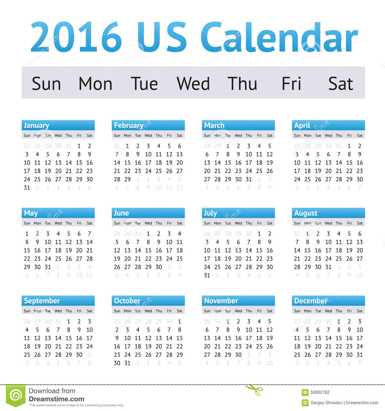 2016 US American English Calendar. Week Starts On Sunday Stock Vector ...