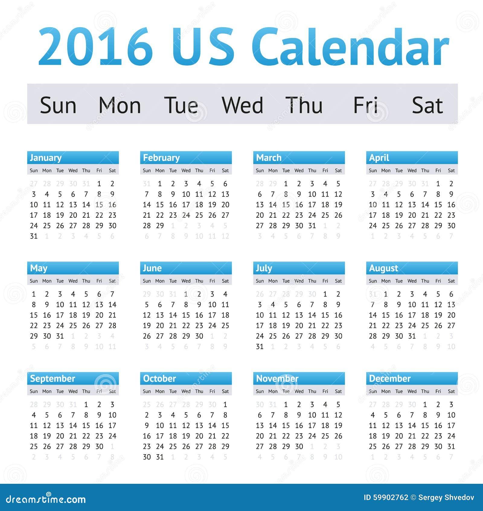 2016 US American English Calendar. Week Starts On Sunday Stock Vector ...