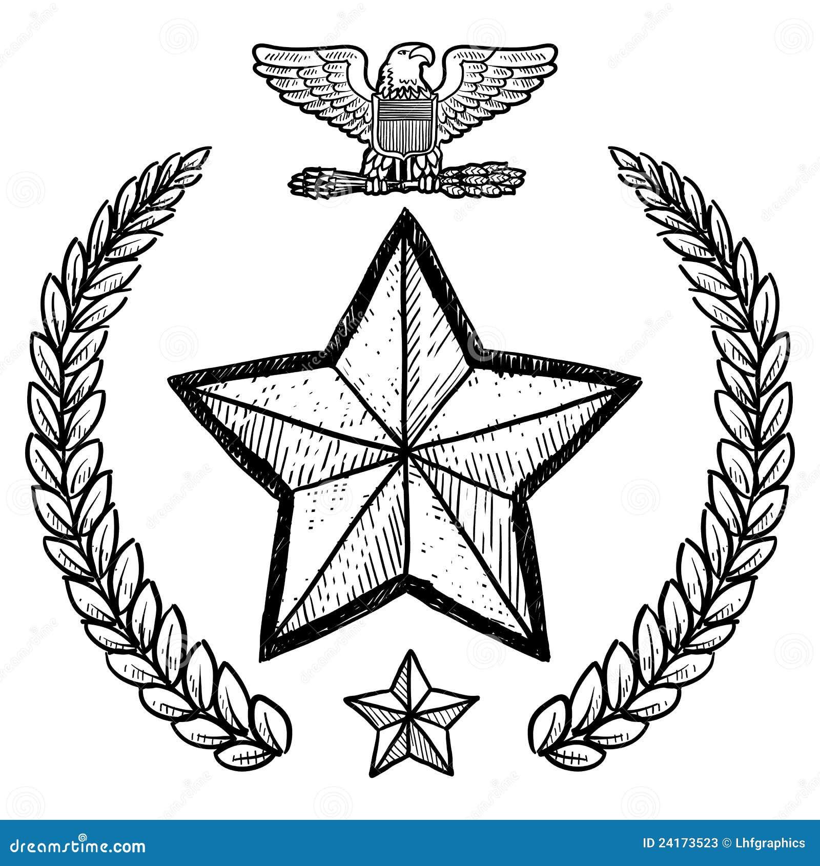 Us-armégradbeteckning med kranen