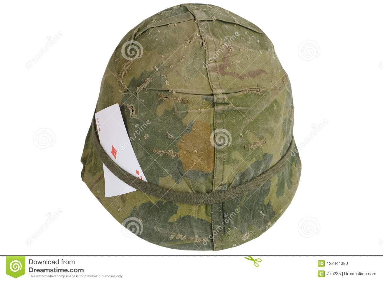e31ddf00 US Army helmet Vietnam war period with amulet - playing card ace of diamonds