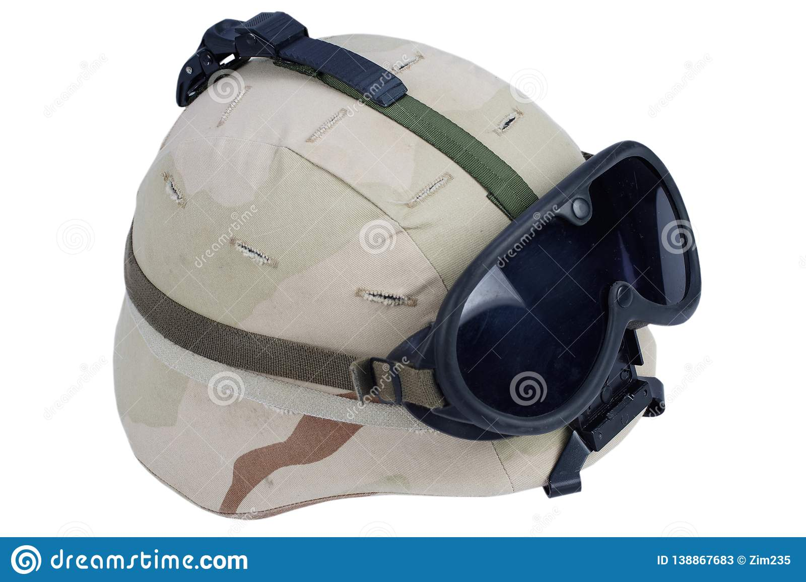 f3082a0ffe330b US army kevlar helmet with goggles, NVG mount and camouflage cover isolated  on white background. More similar stock images