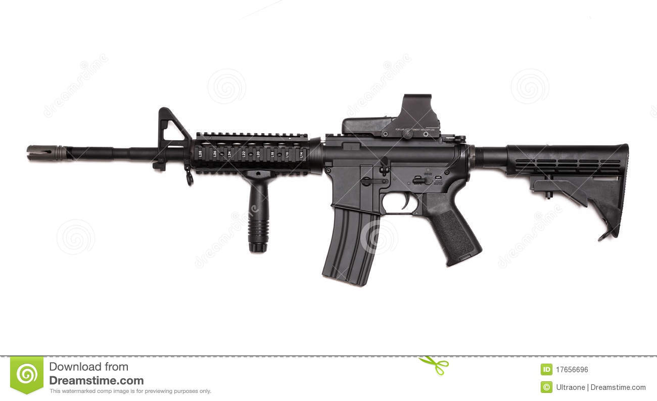 US Army M4A1 Rifle With Holographic Sight. Royalty Free Stock Image ...