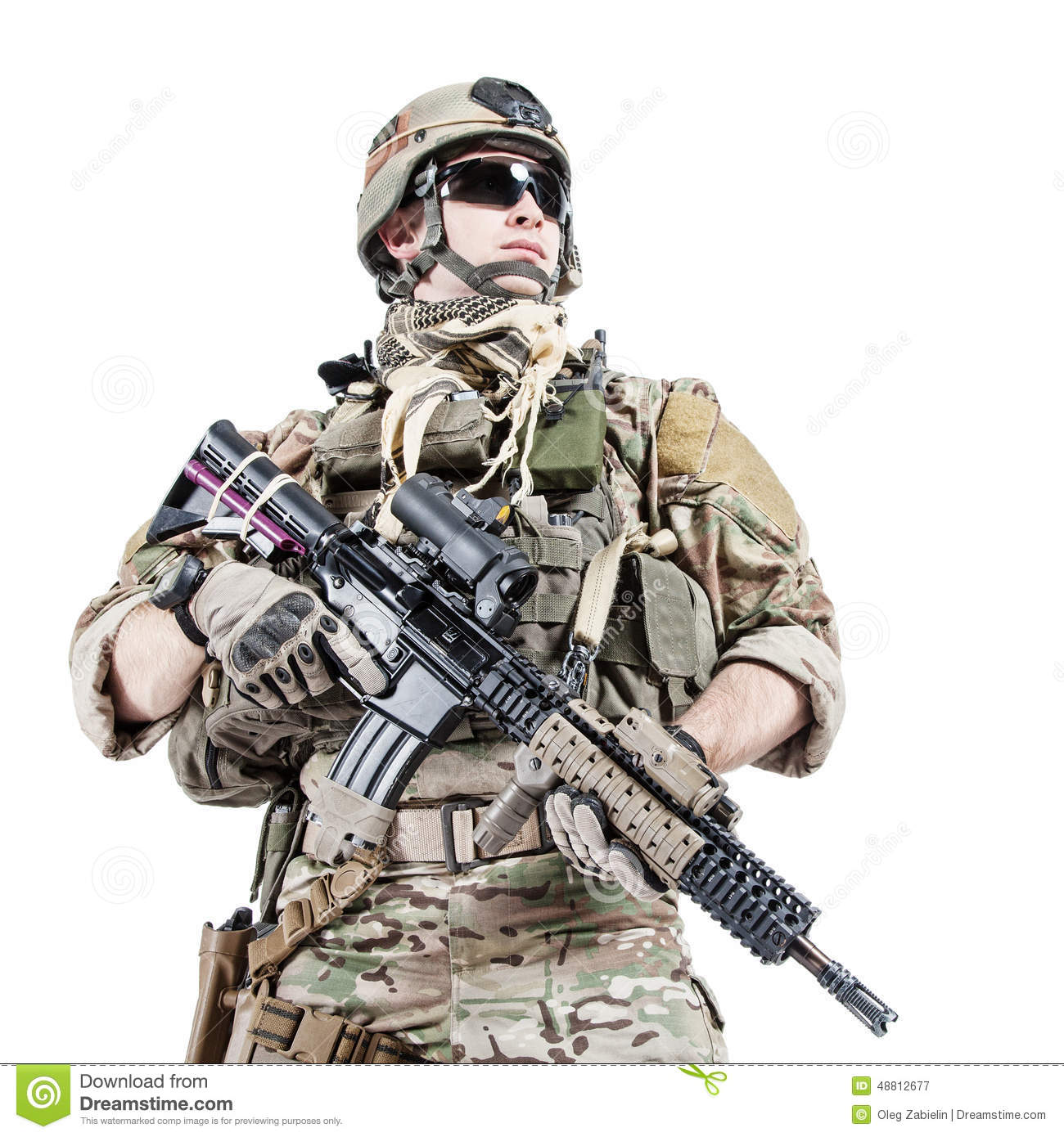 United States Army ranger with assault rifle.