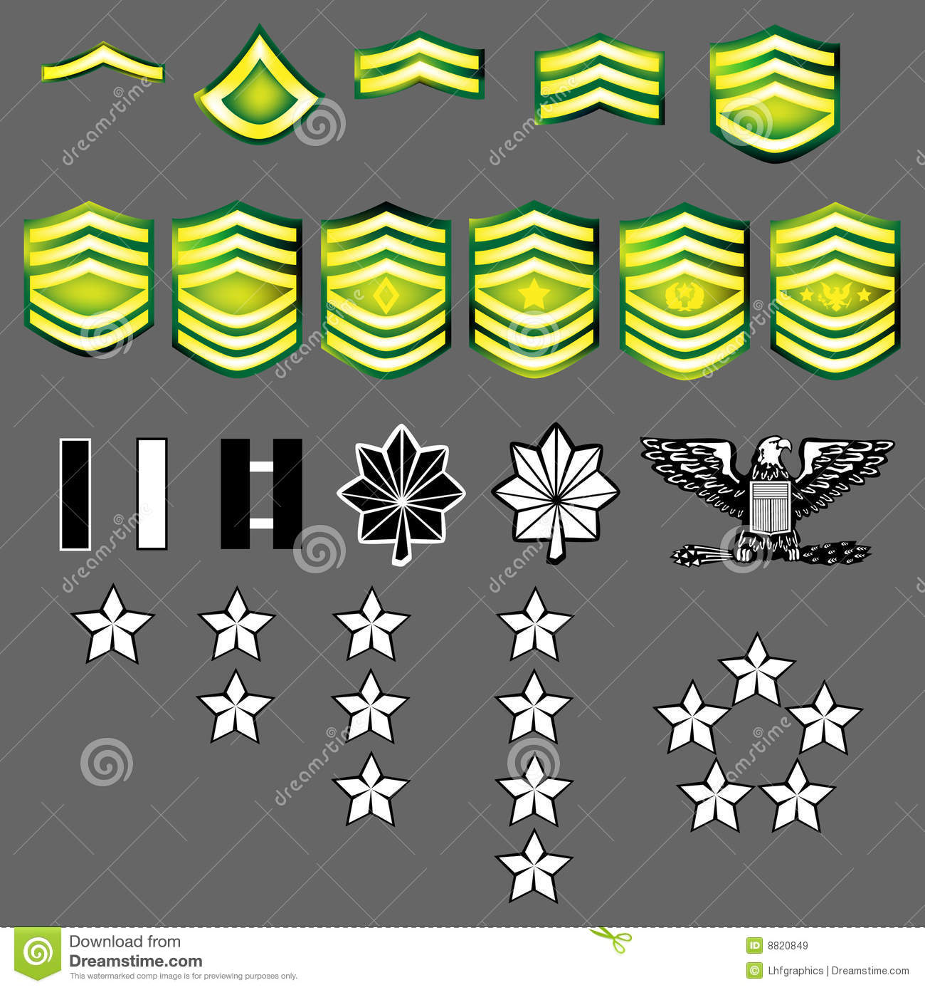 US Army Rank Insignia Stock Vector. Image Of Medal