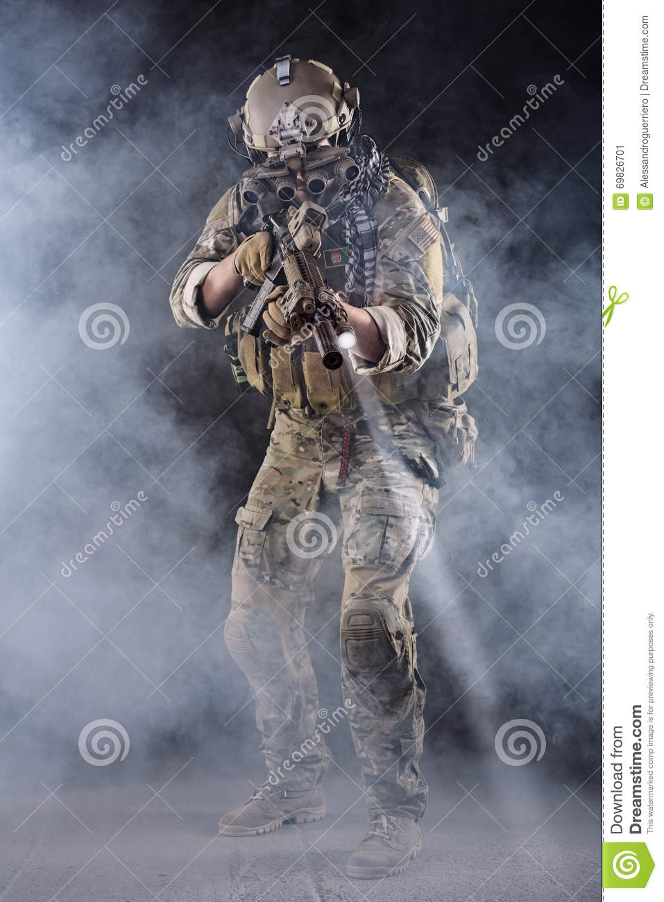 US Army Soldier in Action in the Fog
