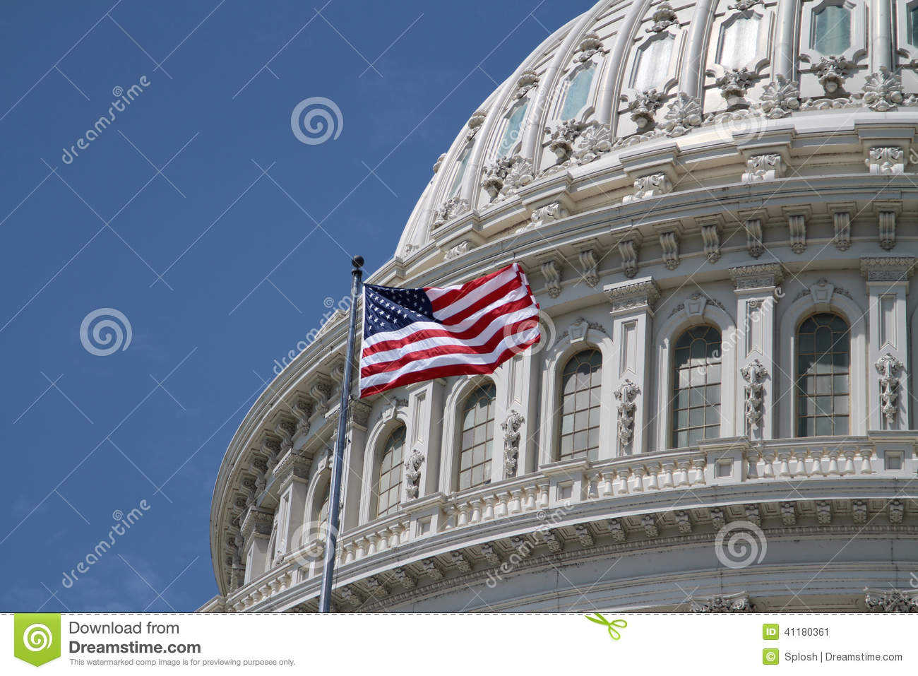 US Capitol and american flag