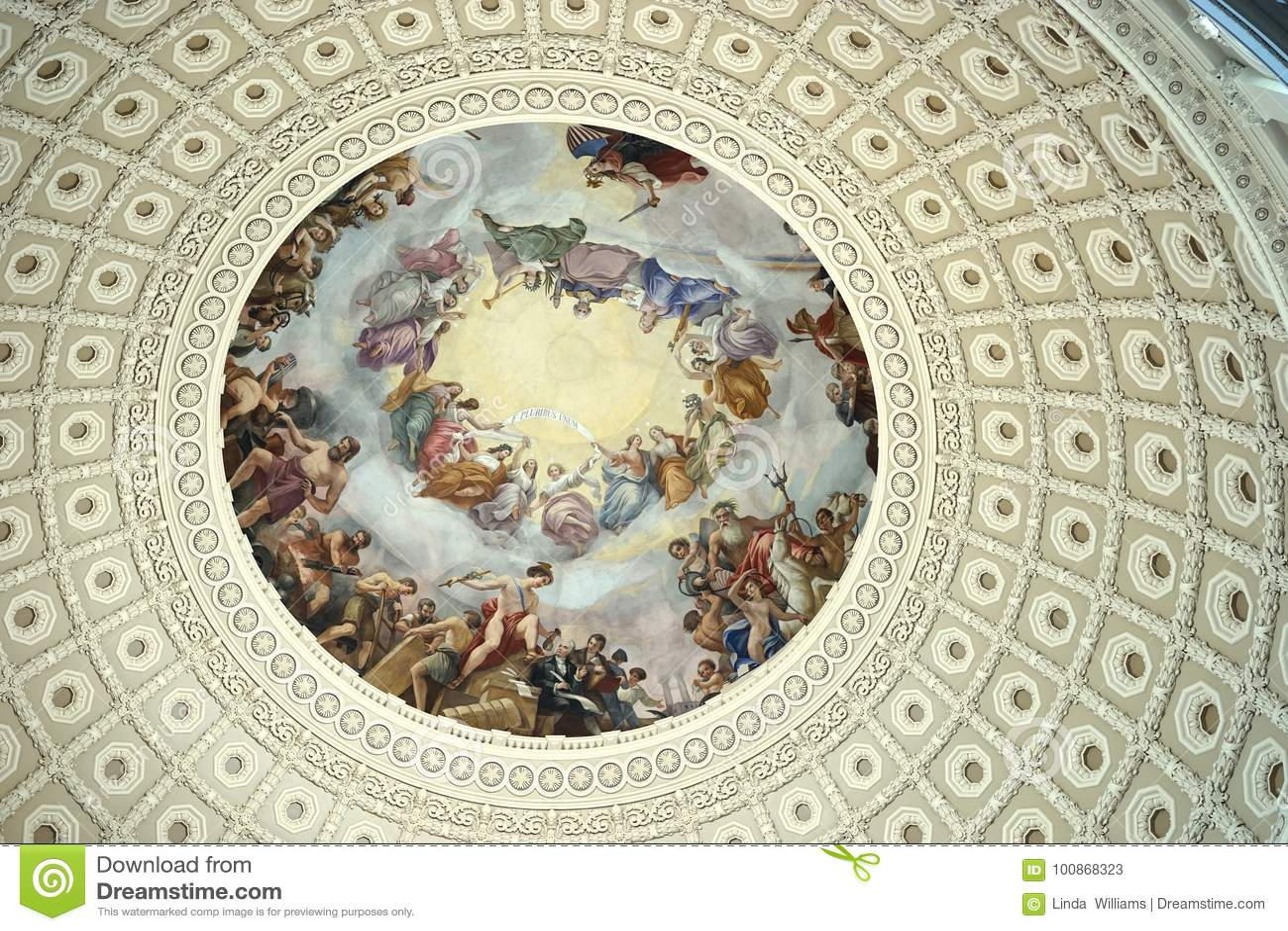 US Capitol dome fresco art editorial stock photo  Image of