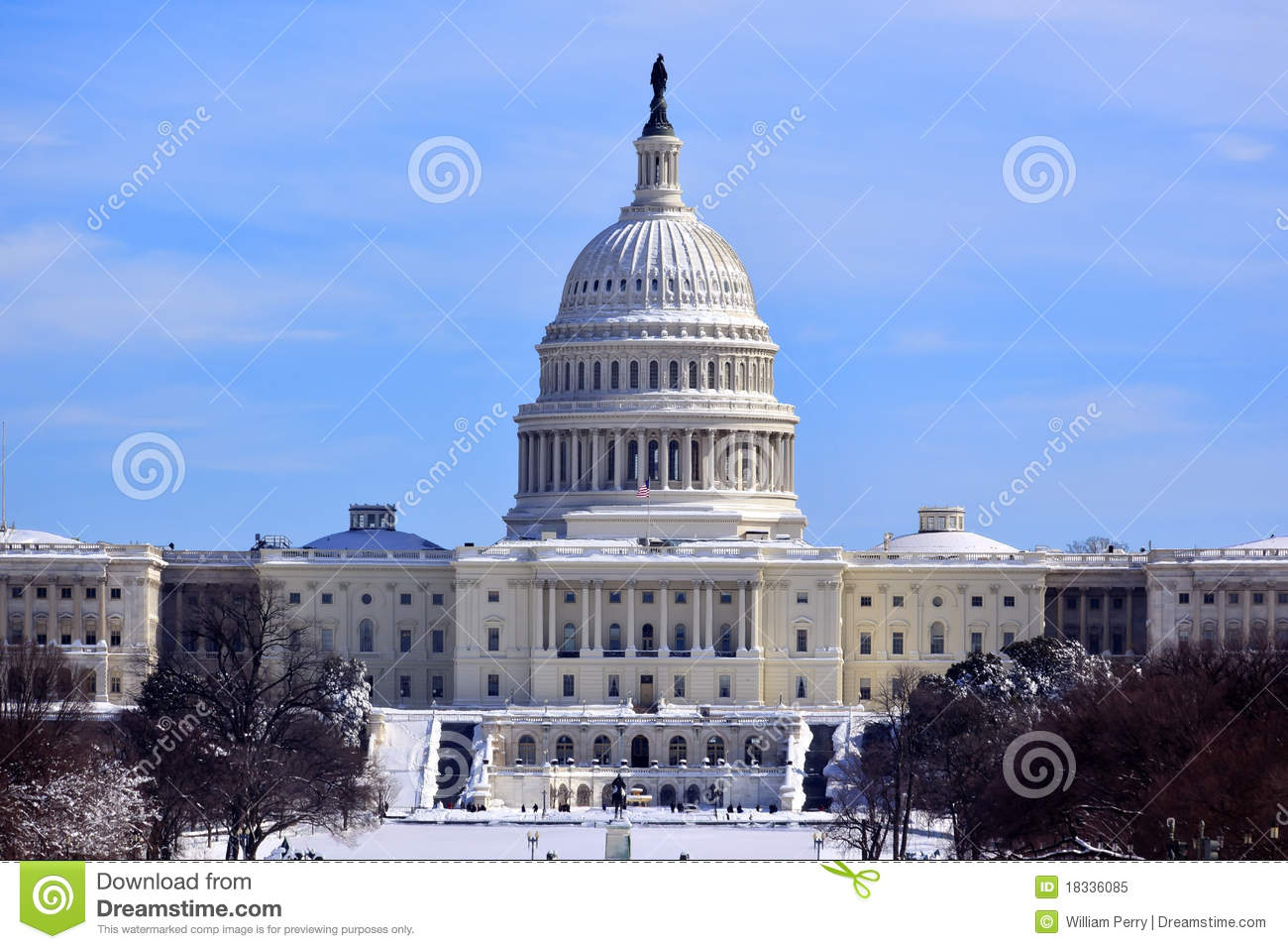 Us Capitol Dome Houses Congress Snow Washington Dc Stock