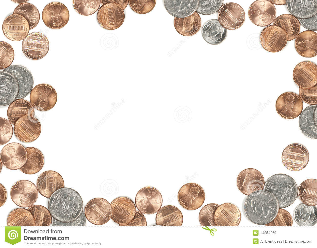 US coin currency border. Isolated on white background focus across all ...