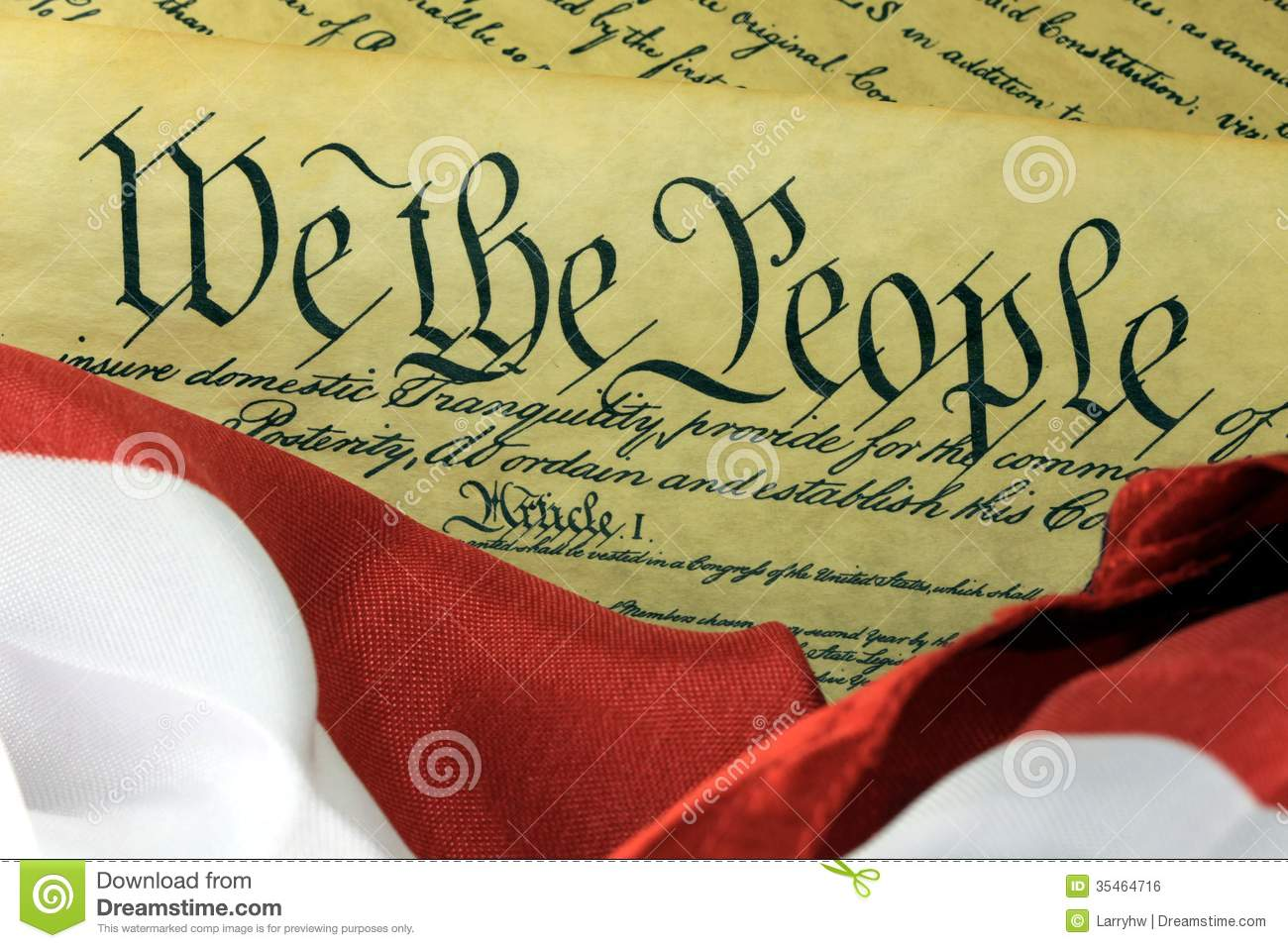 We The People With American Flag Stock