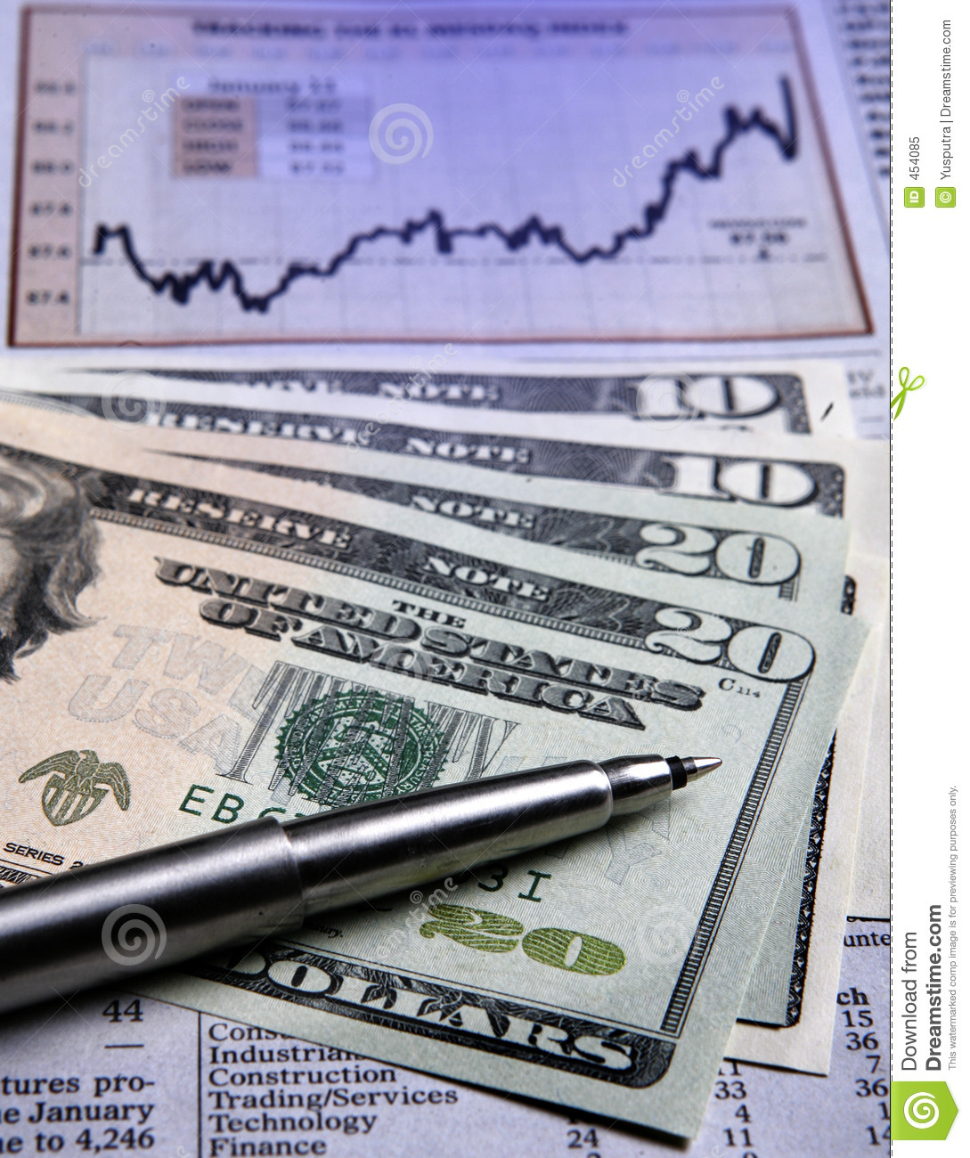 US currency - financial chart