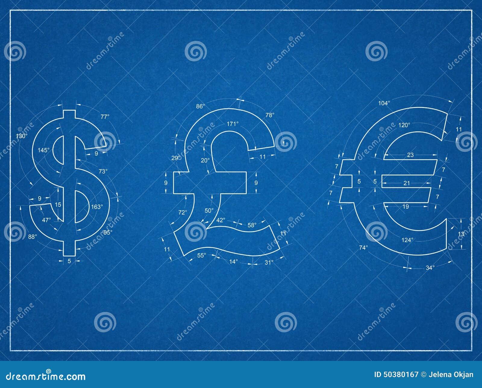 Us Dollar British Pound Euro Symbols Blueprint Stock Illustration