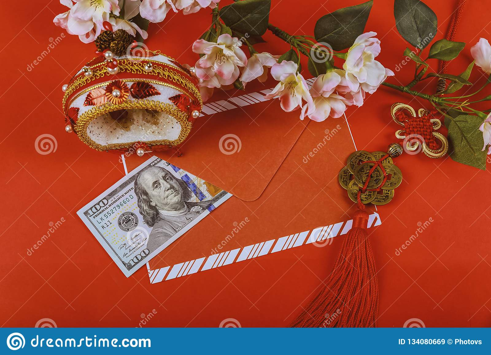 US dollar money in red background,Happy Chinese new year concept