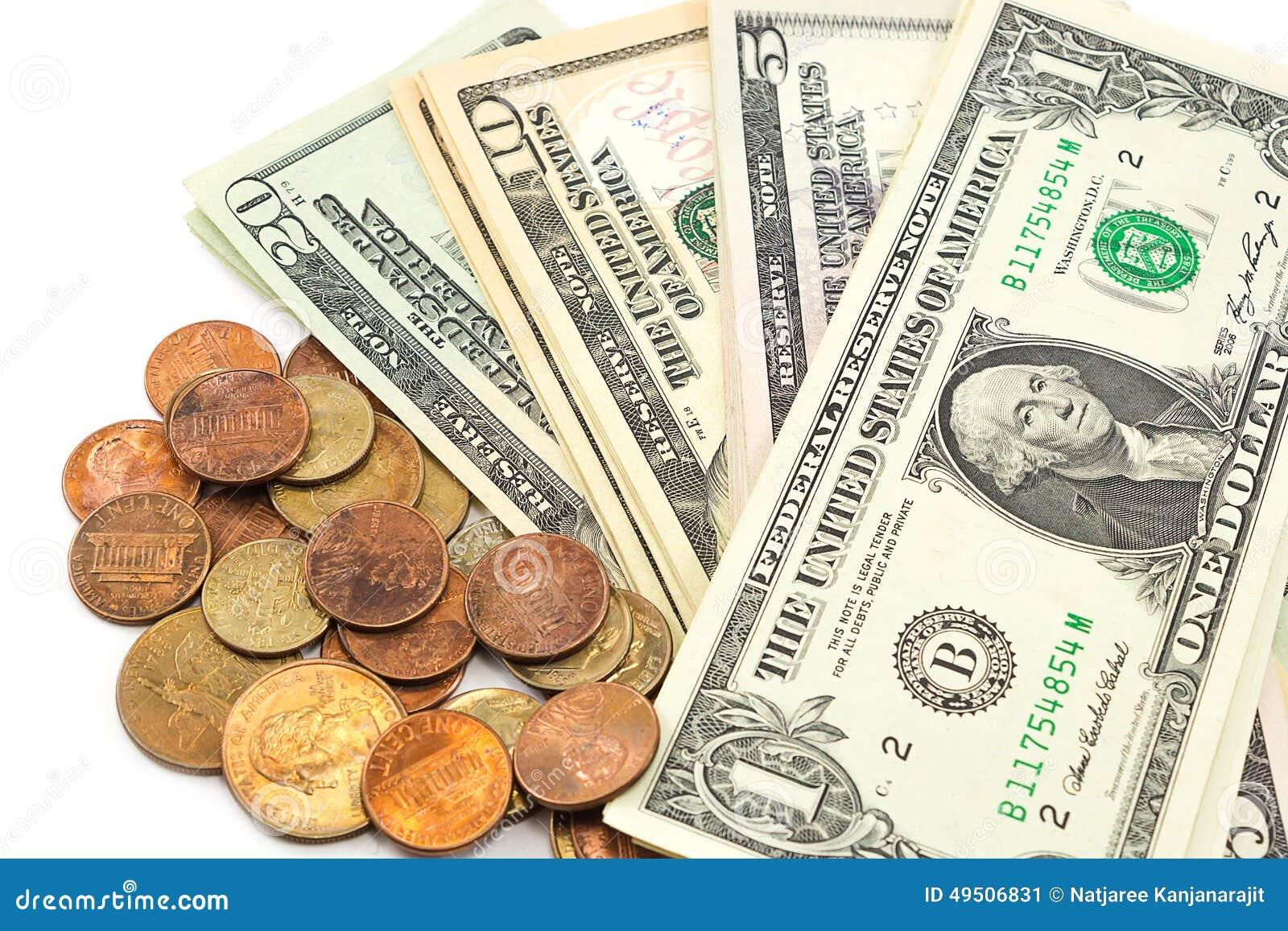 Us Dollar Rechnungen Und Münzen Auf Weißem Hintergrund Stockbild