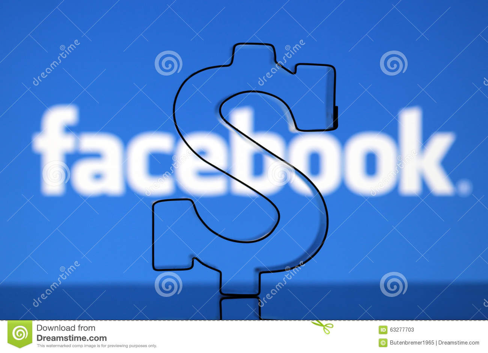 us dollar sign with facebook logo editorial stock photo
