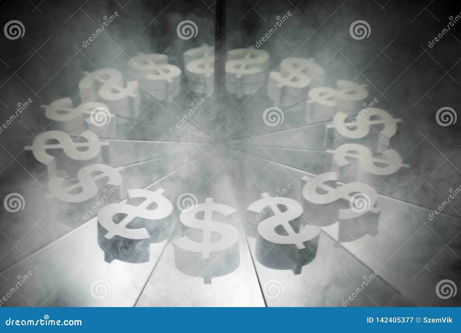 US-Dollar Währungszeichen auf Spiegel und im Rauche umfasst