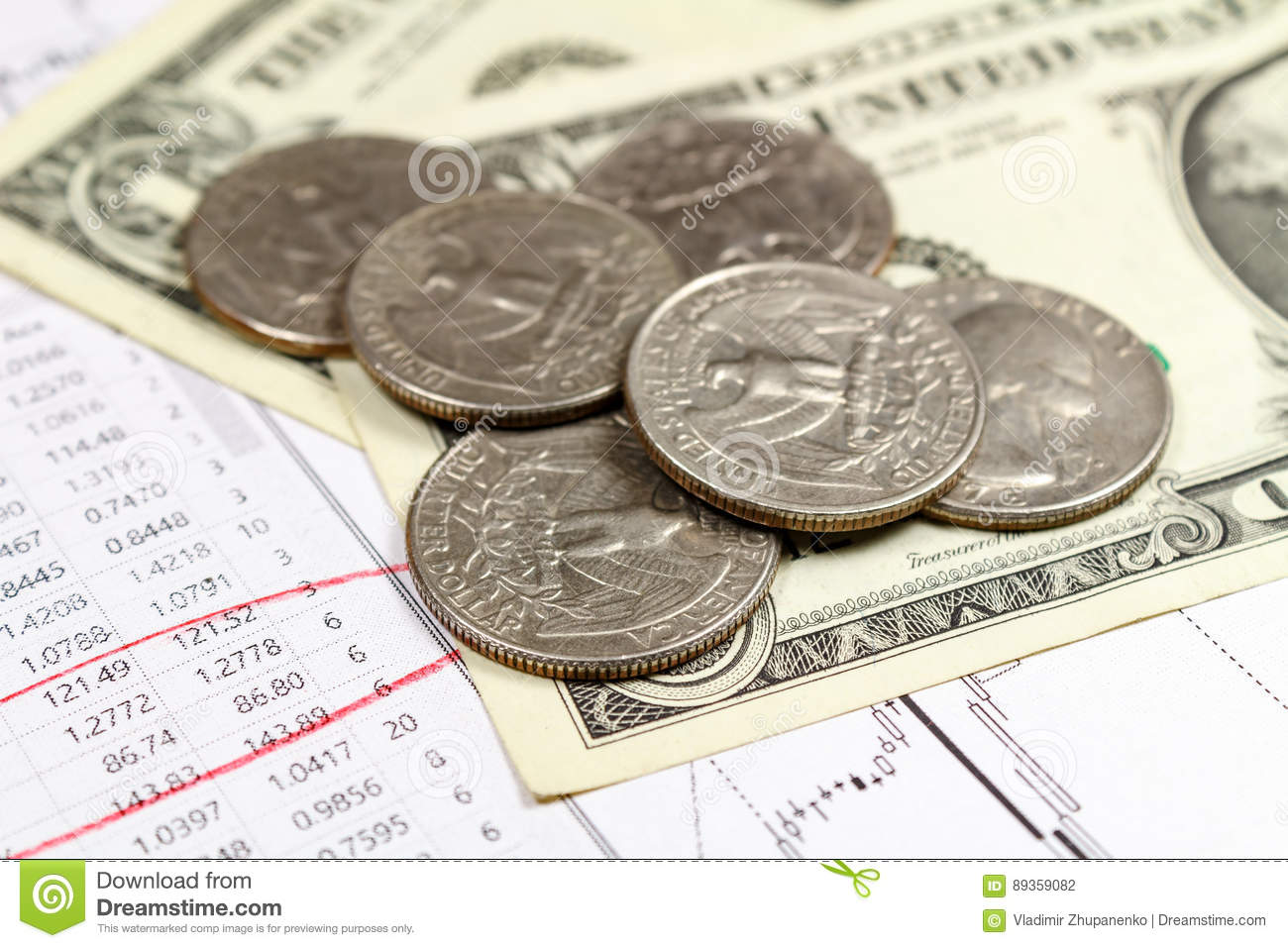 US dollars banknotes with coins on the background of currency growth schedule. Focus in the foreground