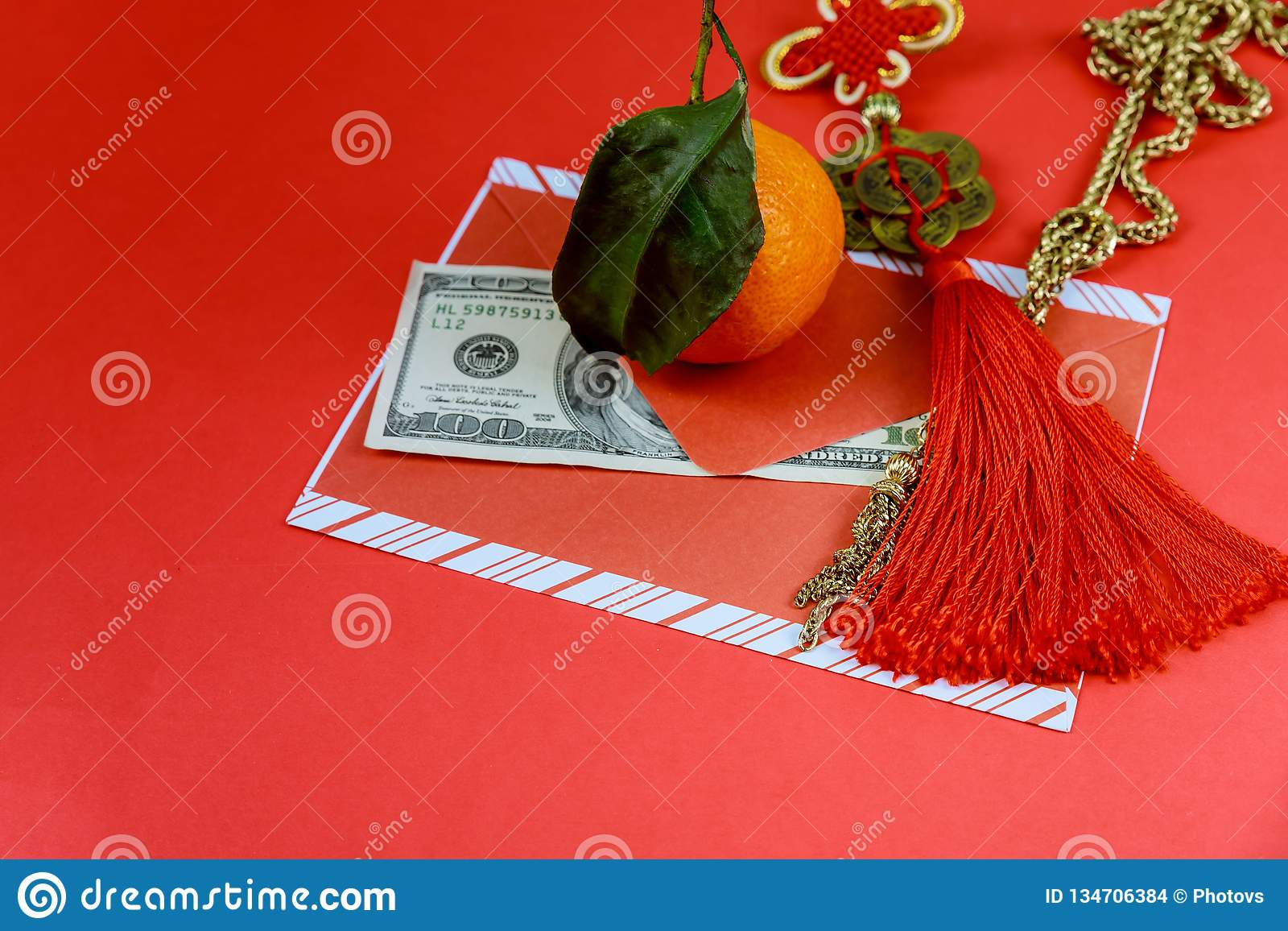 US dollars banknotes with red envelope in Chinese New Year