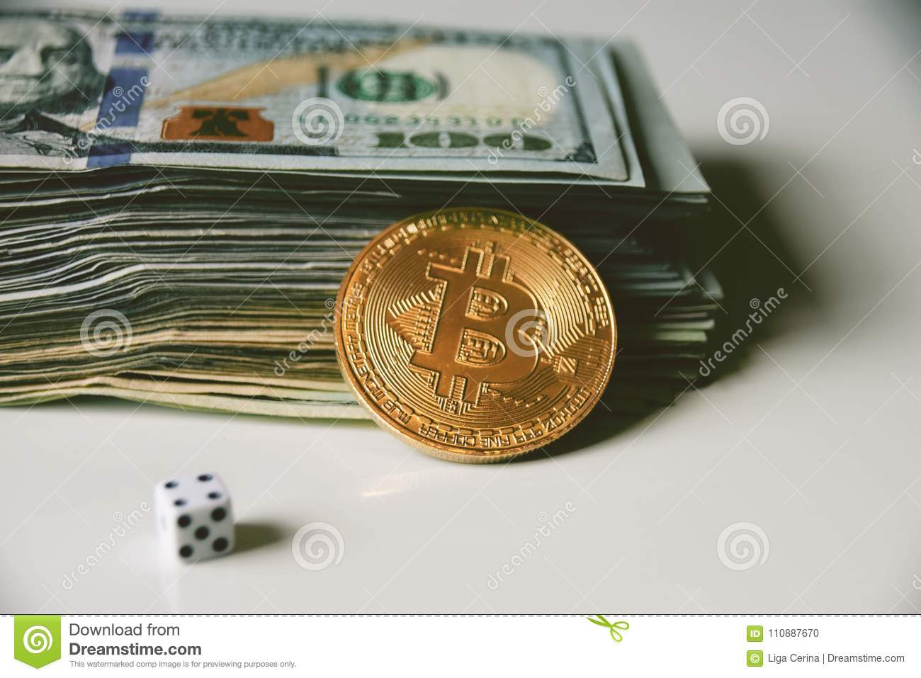 Us Dollars, Bitcoin And Rolling Dice Stock Photo - Image of physical