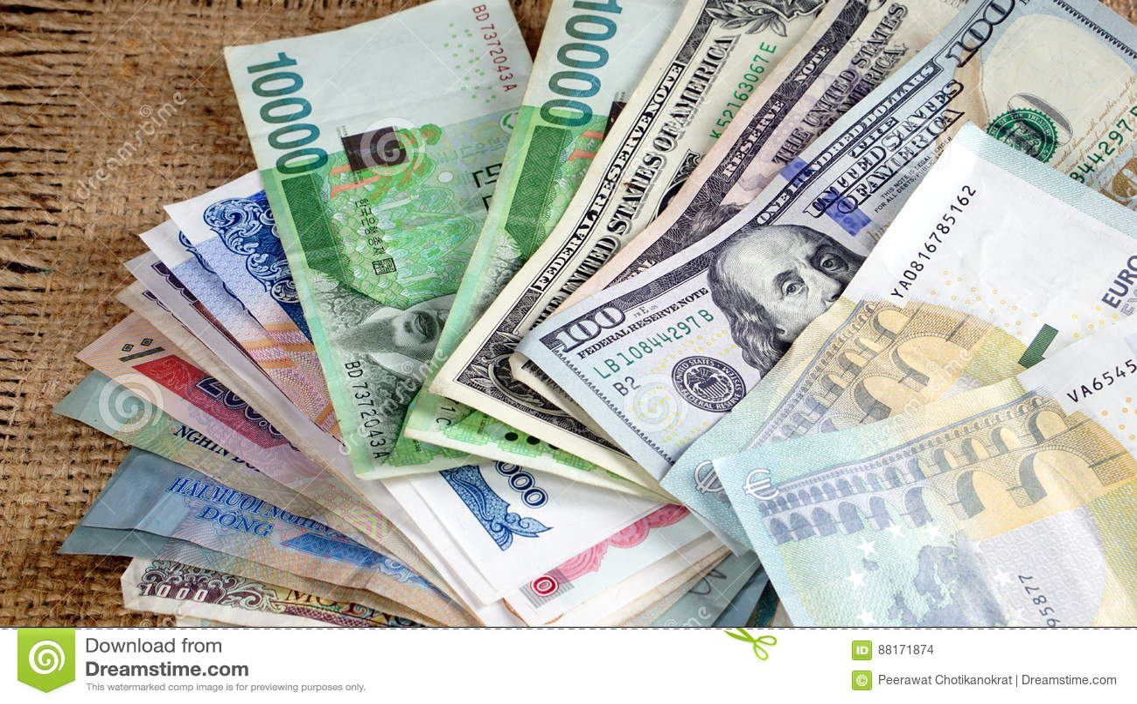 US Dollars, Korean Won, Euro Bills And Some Money Bills And Banknotes. Stock Photo - Image of ...