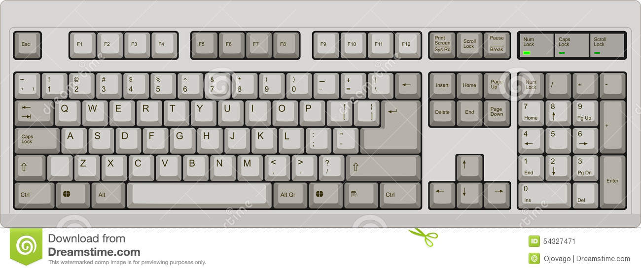 Download US English Qwerty Computer Keyboard. Grey Stock Vector - Illustration of keyboard, illustration: 54327471