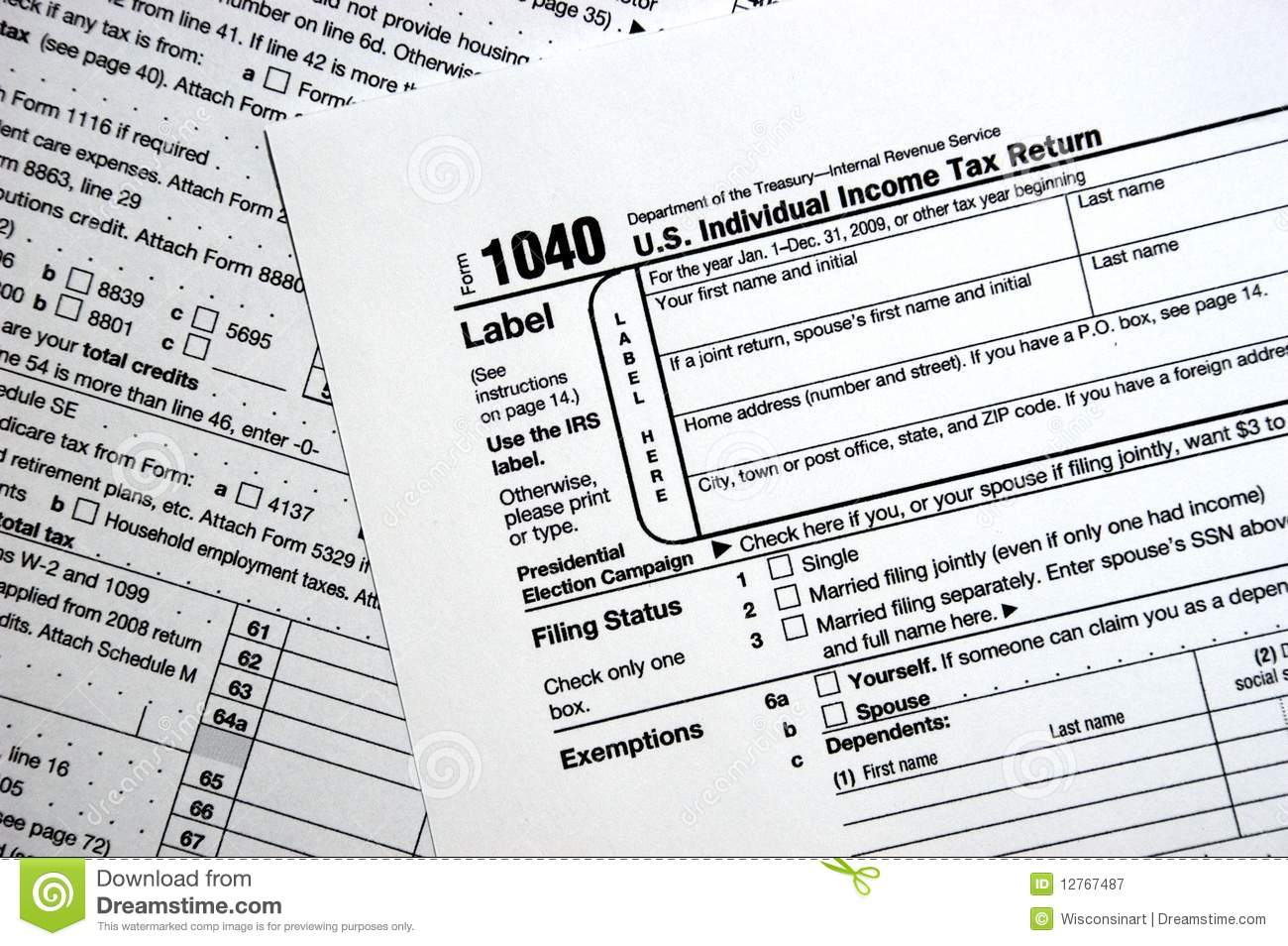 Us Federal 1040 Tax Form Plain Forms Concept Editorial Photography