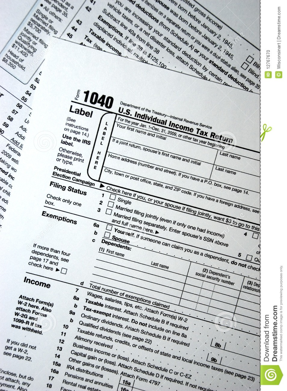 Us Federal 1040 Tax Form Plain Forms Taxes Editorial Image Image