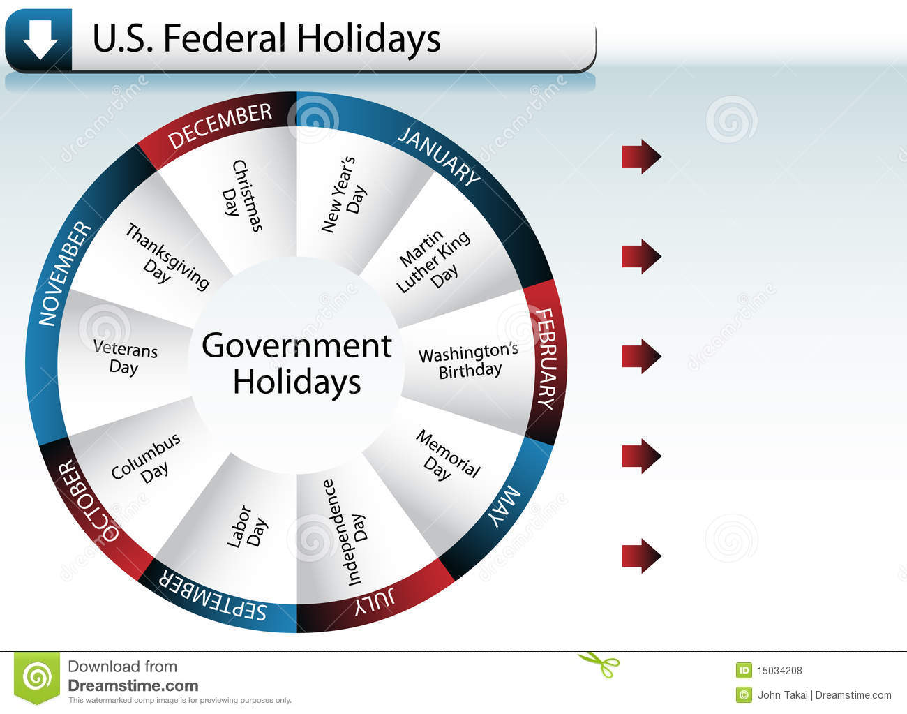 US Federal Government Holidays Stock Vector - Illustration of united ...