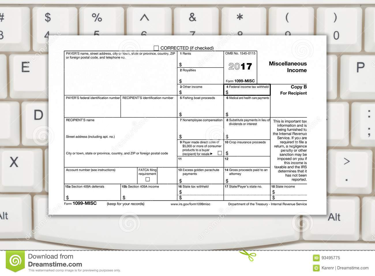 A Us Federal Tax 1099 Income Tax Form Editorial Image Image Of