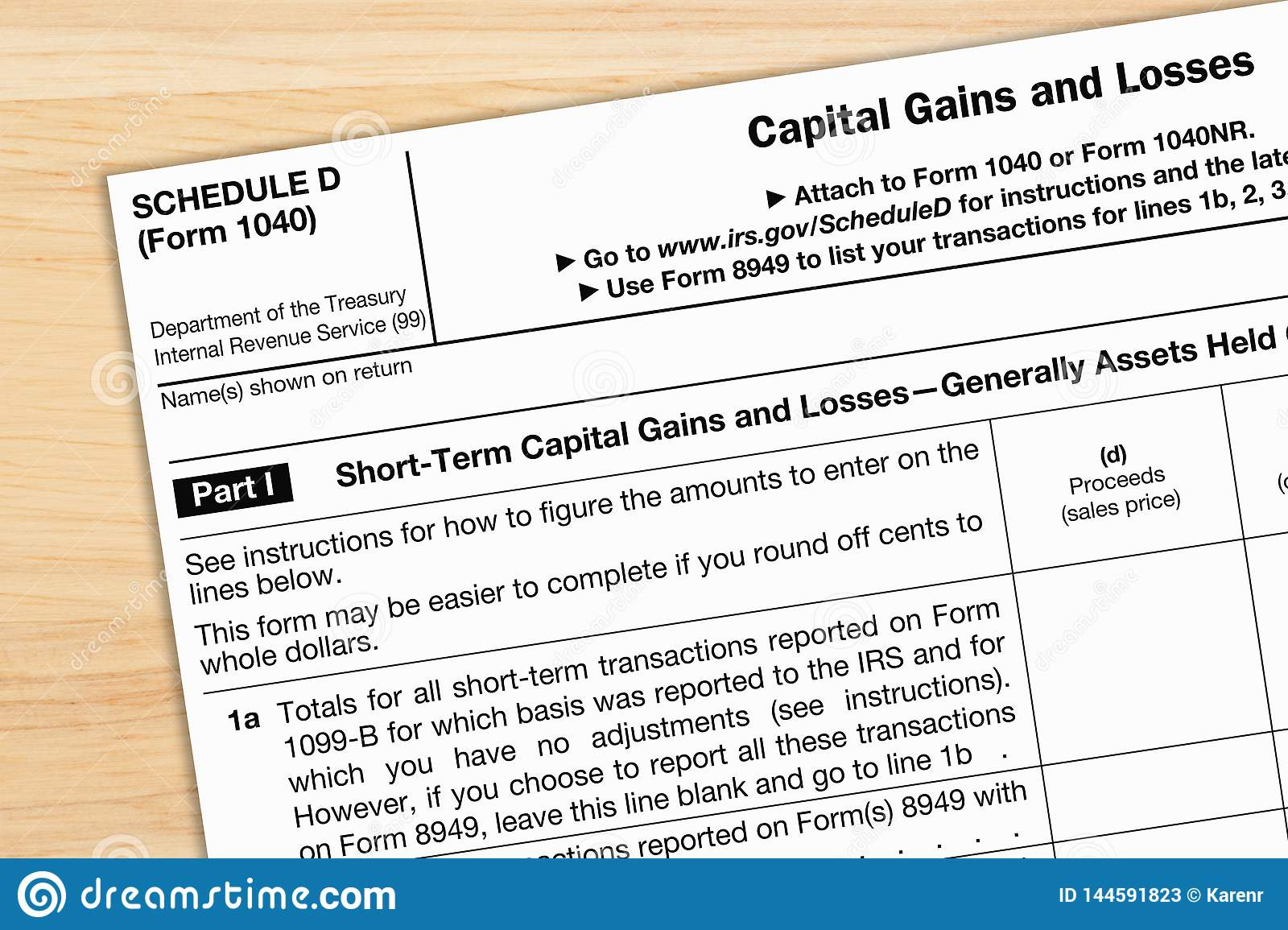 A US Federal Tax 1040 Schedule D Income Tax Form Editorial