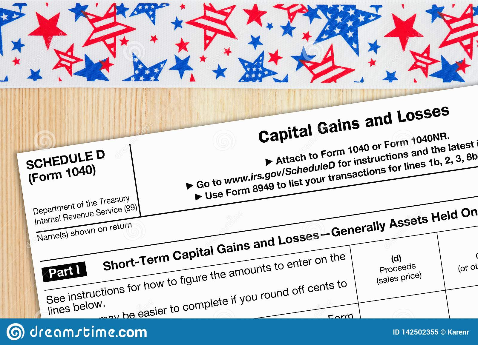 A US Federal Tax 1040 Schedule D Income Tax Form Editorial Image