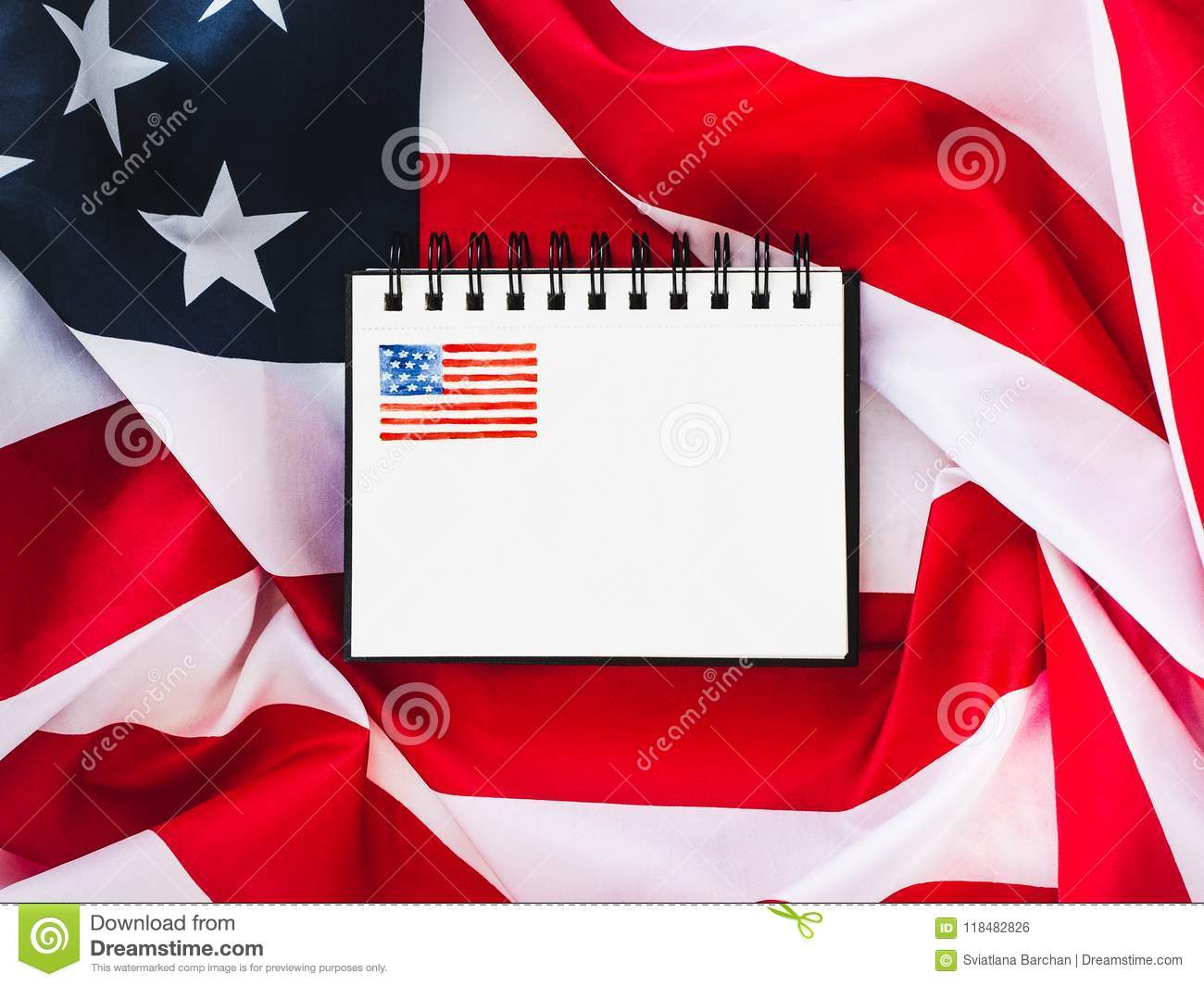 US flag and blank page